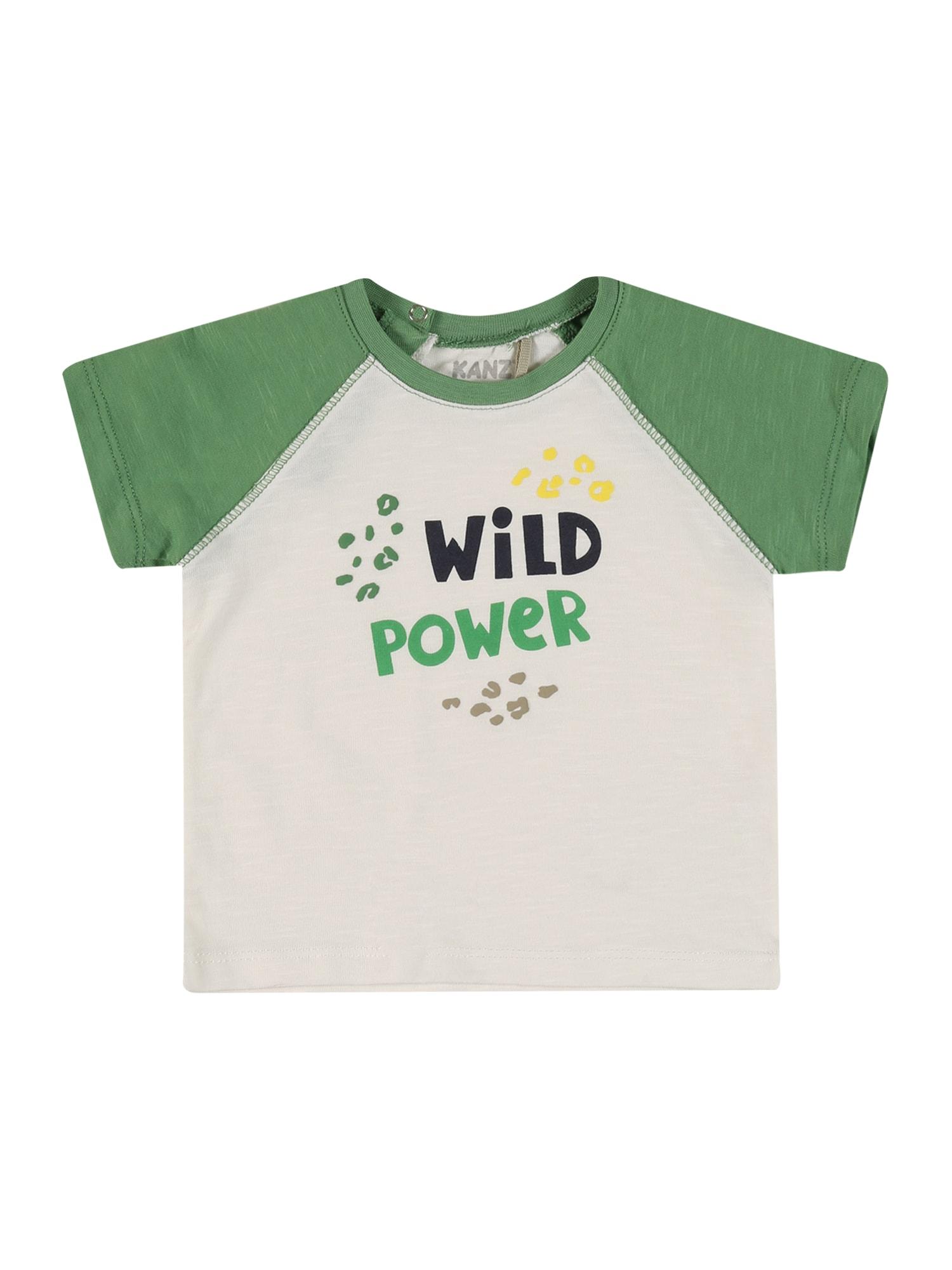 KANZ Marškinėliai rusvai žalia / šviesiai žalia / margai balta / geltona / nakties mėlyna