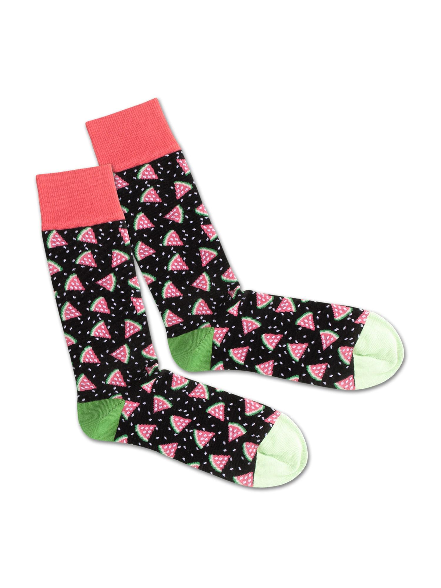 DillySocks Ponožky 'SS20-43 Melonien Night'  zelená / černá / červená