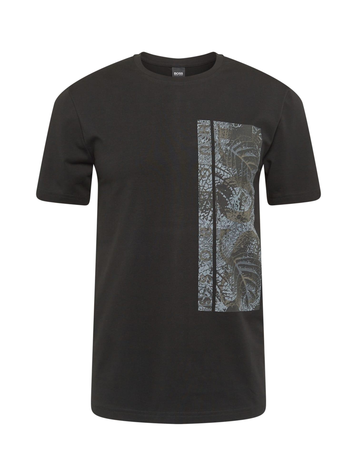 BOSS ATHLEISURE Marškinėliai juoda / rausvai pilka / margai pilka
