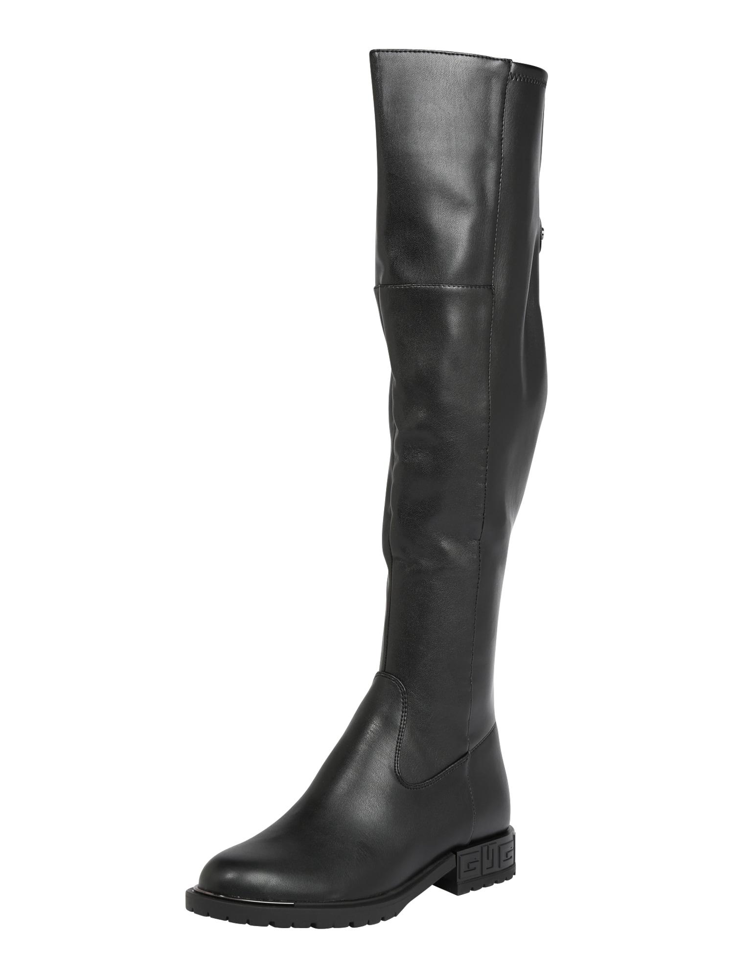 GUESS Ilgaauliai batai virš kelių juoda