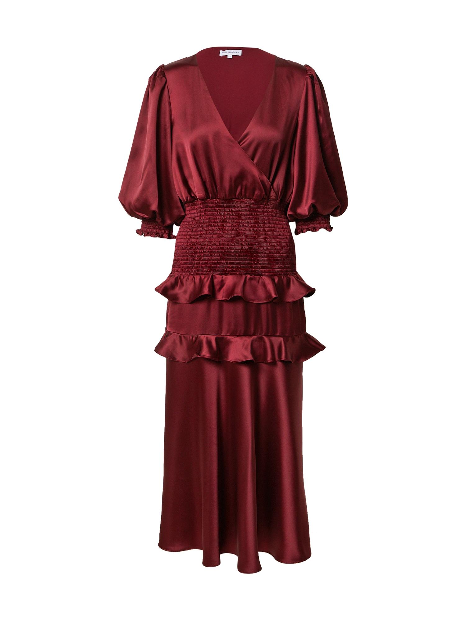 True Decadence Vakarinė suknelė burgundiško vyno spalva