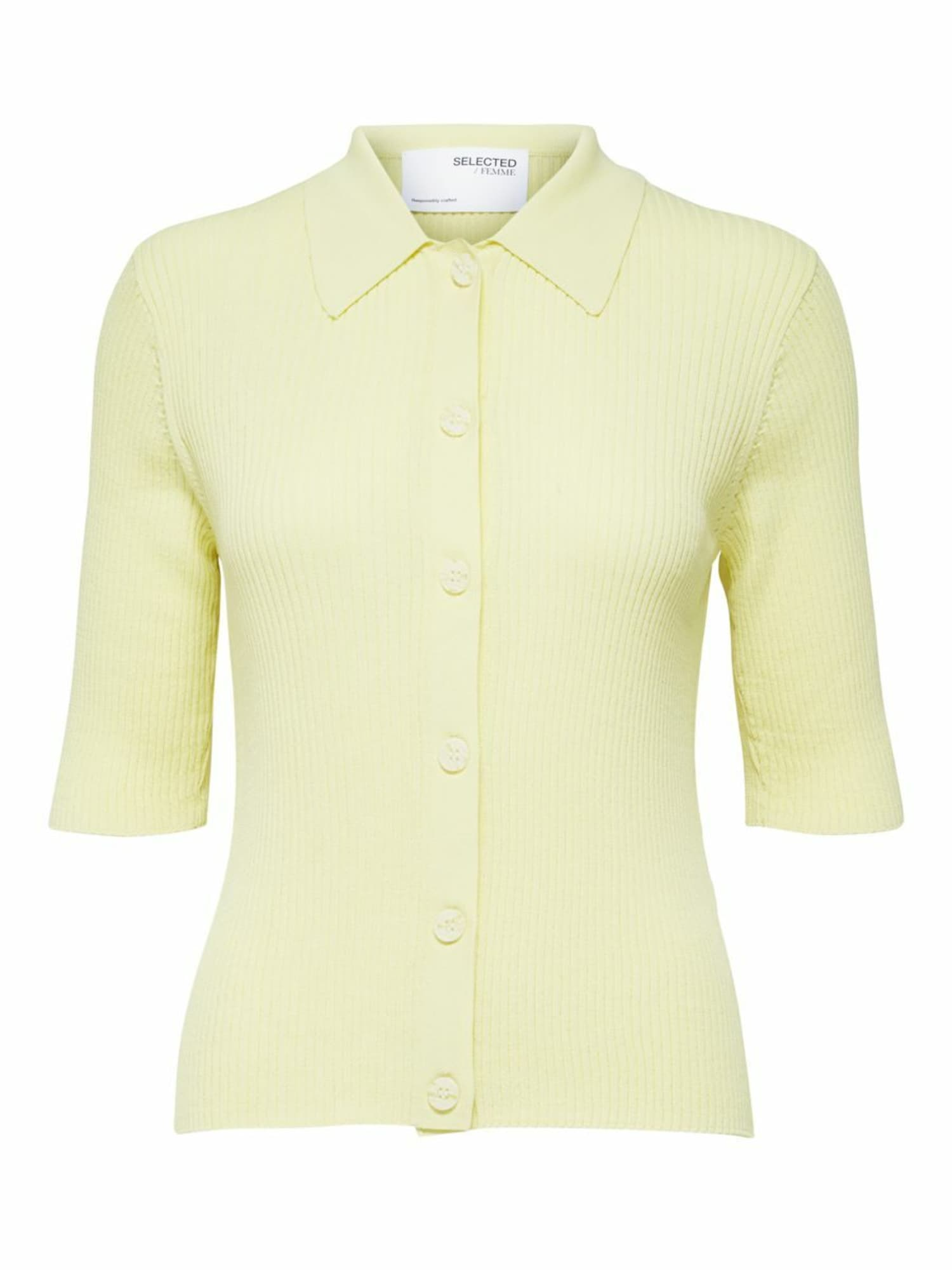 Selected Femme Petite Kardiganas pastelinė geltona