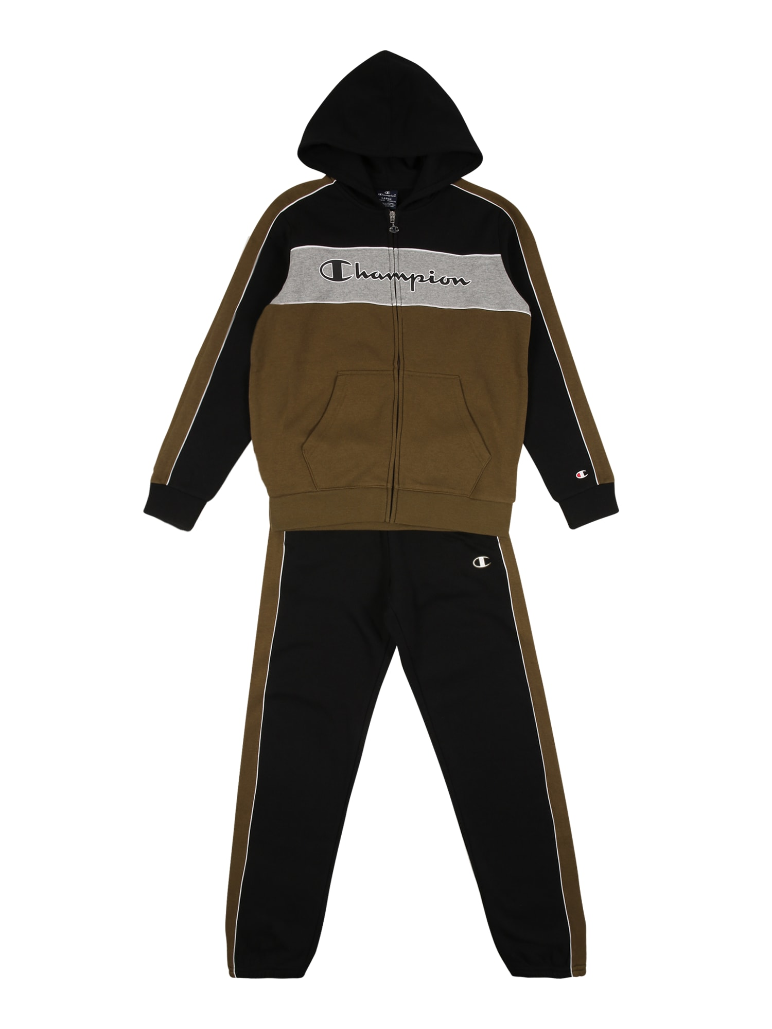 Champion Authentic Athletic Apparel Treniruočių kostiumas juoda / ruda / pilka