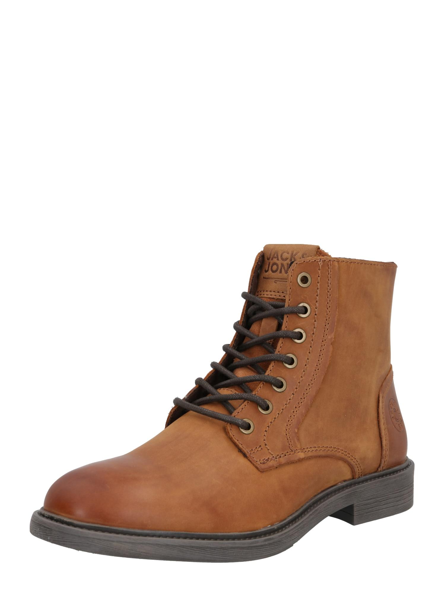 JACK & JONES Auliniai batai su raišteliais ruda