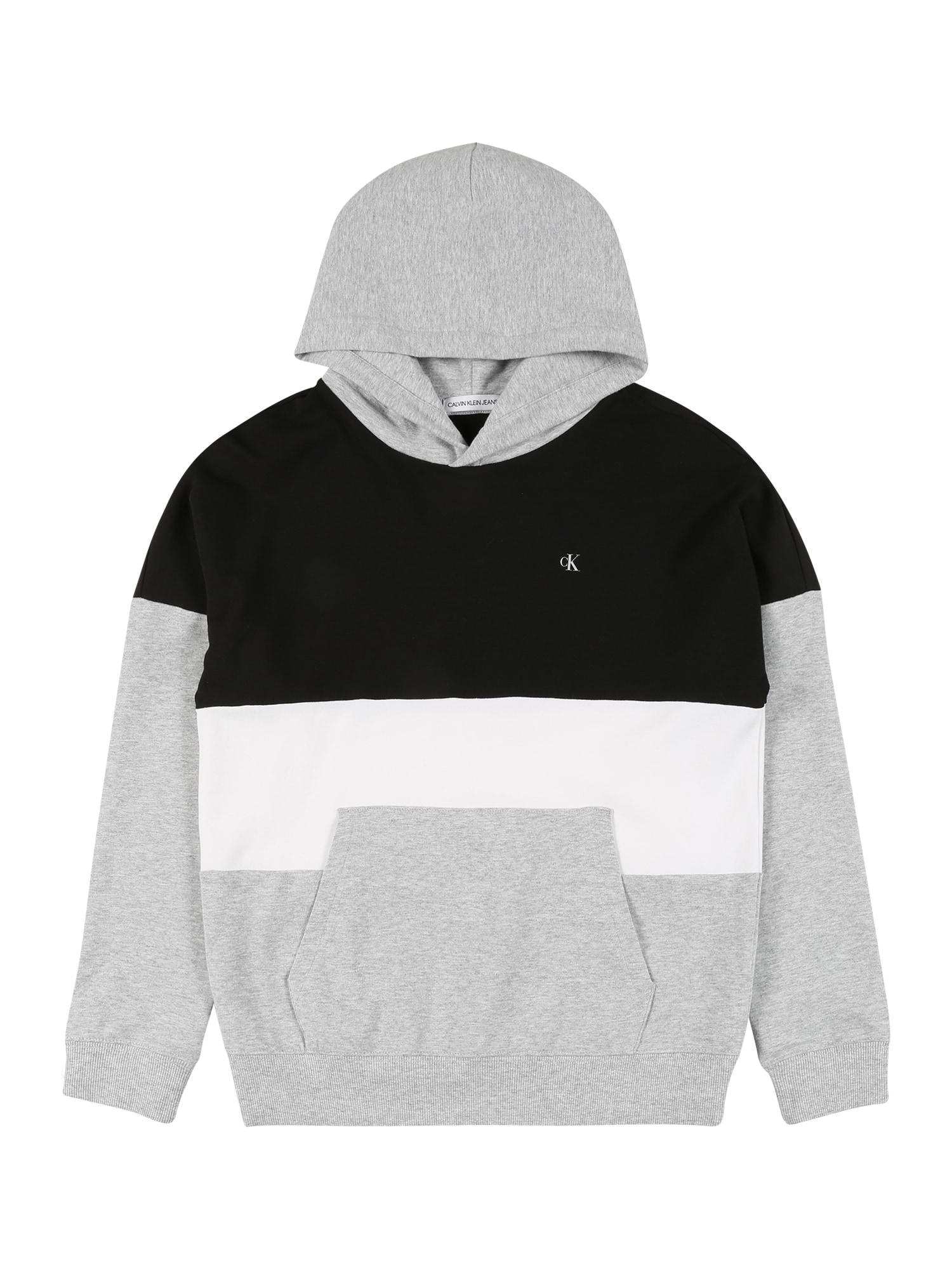 Calvin Klein Jeans Megztinis be užsegimo šviesiai pilka / juoda / balta