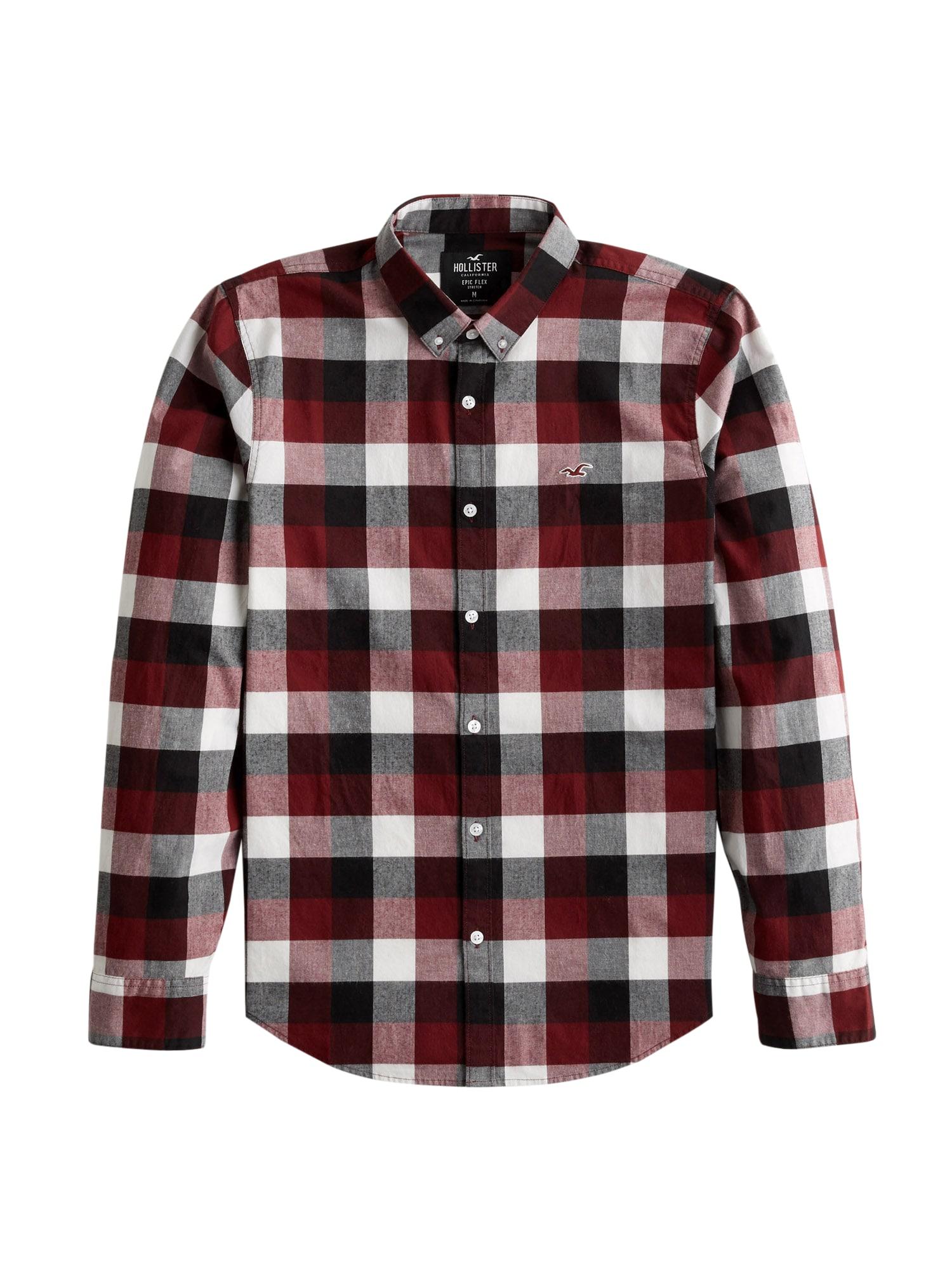 HOLLISTER Košile  burgundská červeň / bílá / rubínově červená