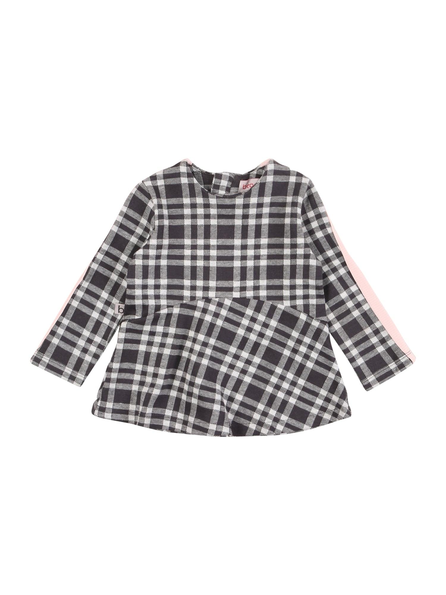 Boboli Šaty  tmavě šedá / šedý melír / bílá / růžová