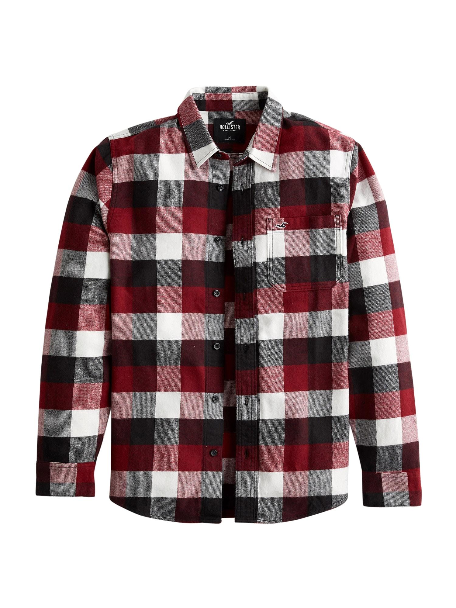 HOLLISTER Košile  červená / bílá / černá