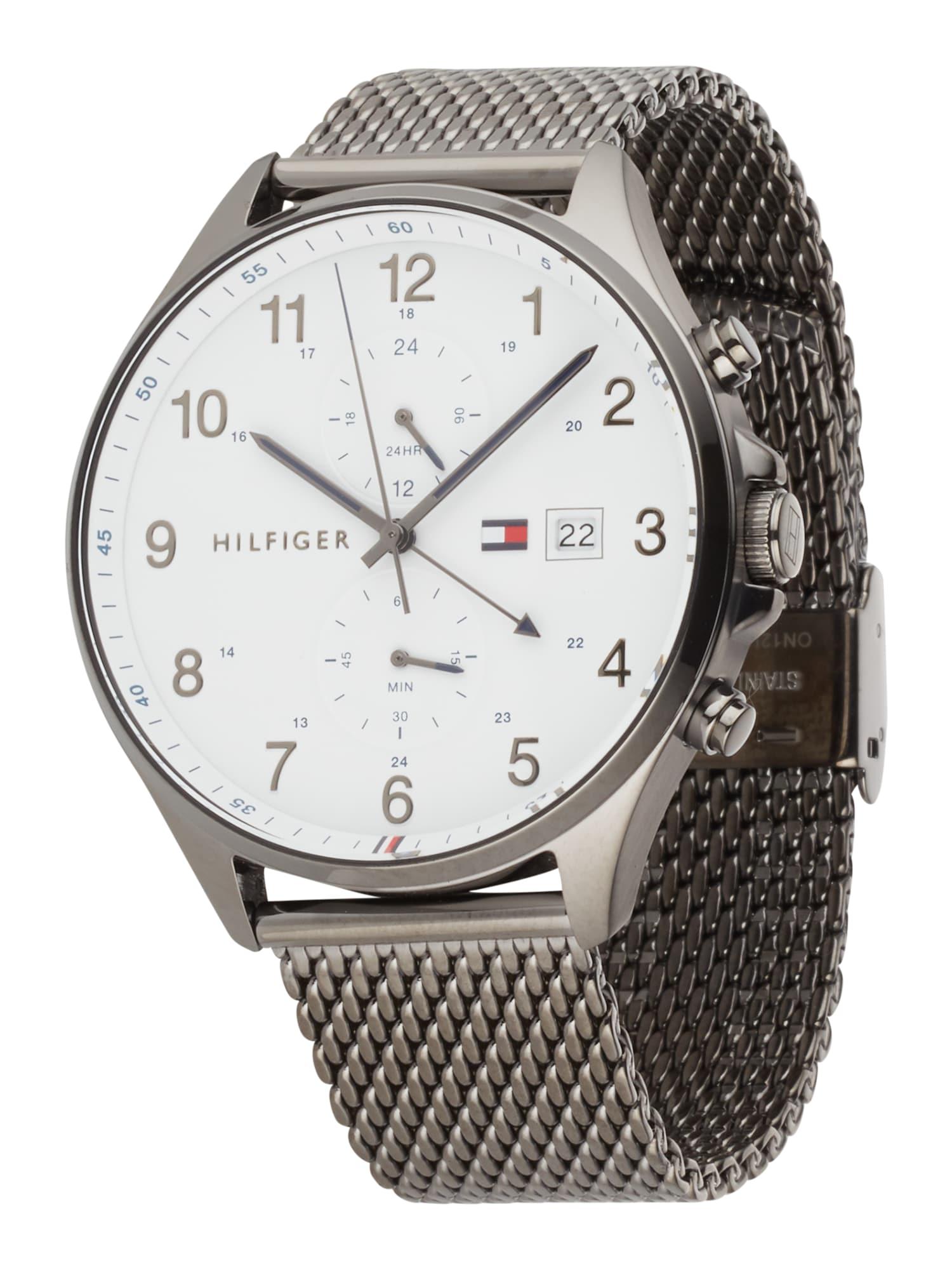 TOMMY HILFIGER Analoginis (įprasto dizaino) laikrodis balta / tamsiai pilka