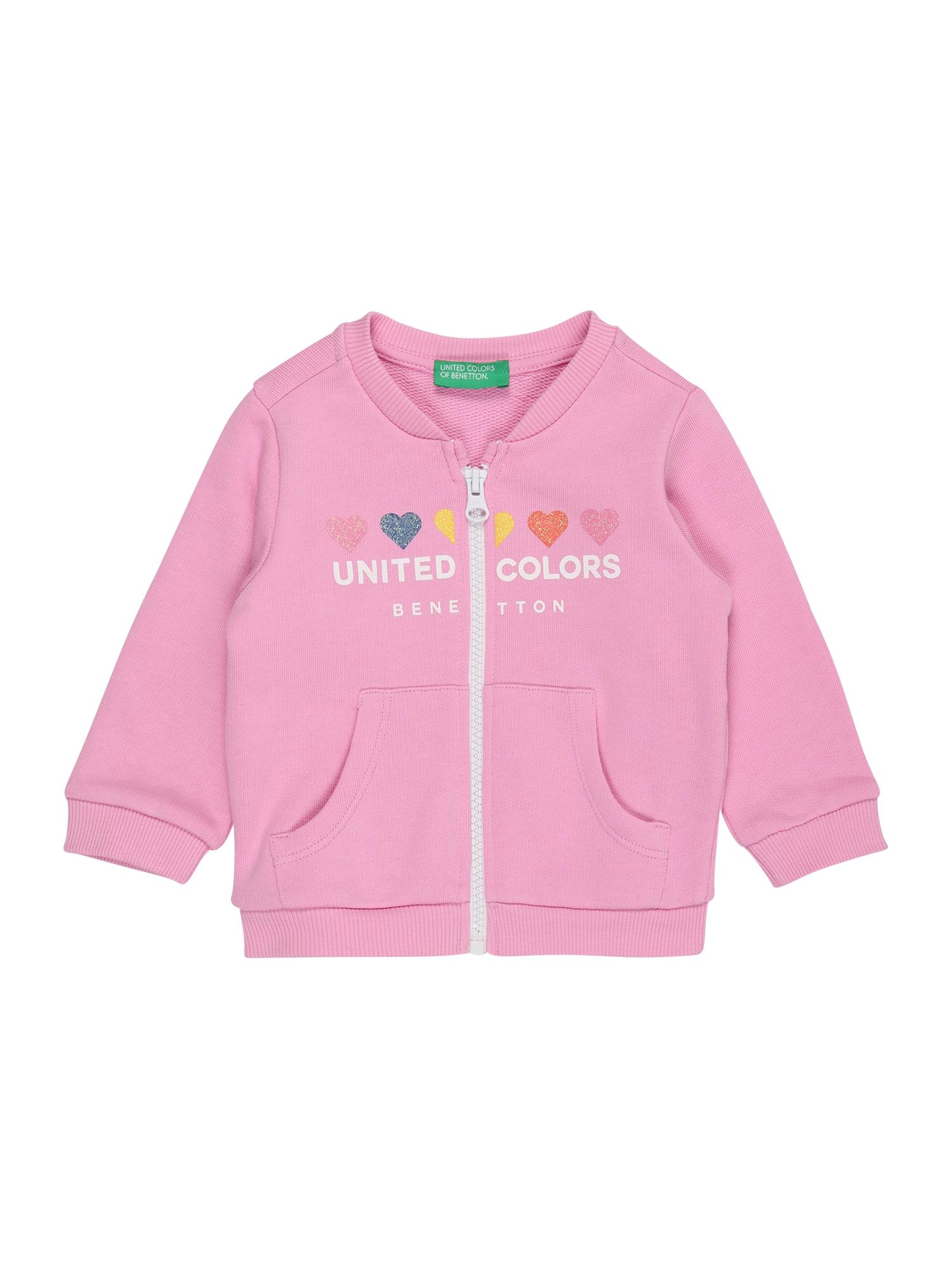 UNITED COLORS OF BENETTON Džemperis šviesiai rožinė / balta / tamsiai mėlyna / geltona / melionų spalva