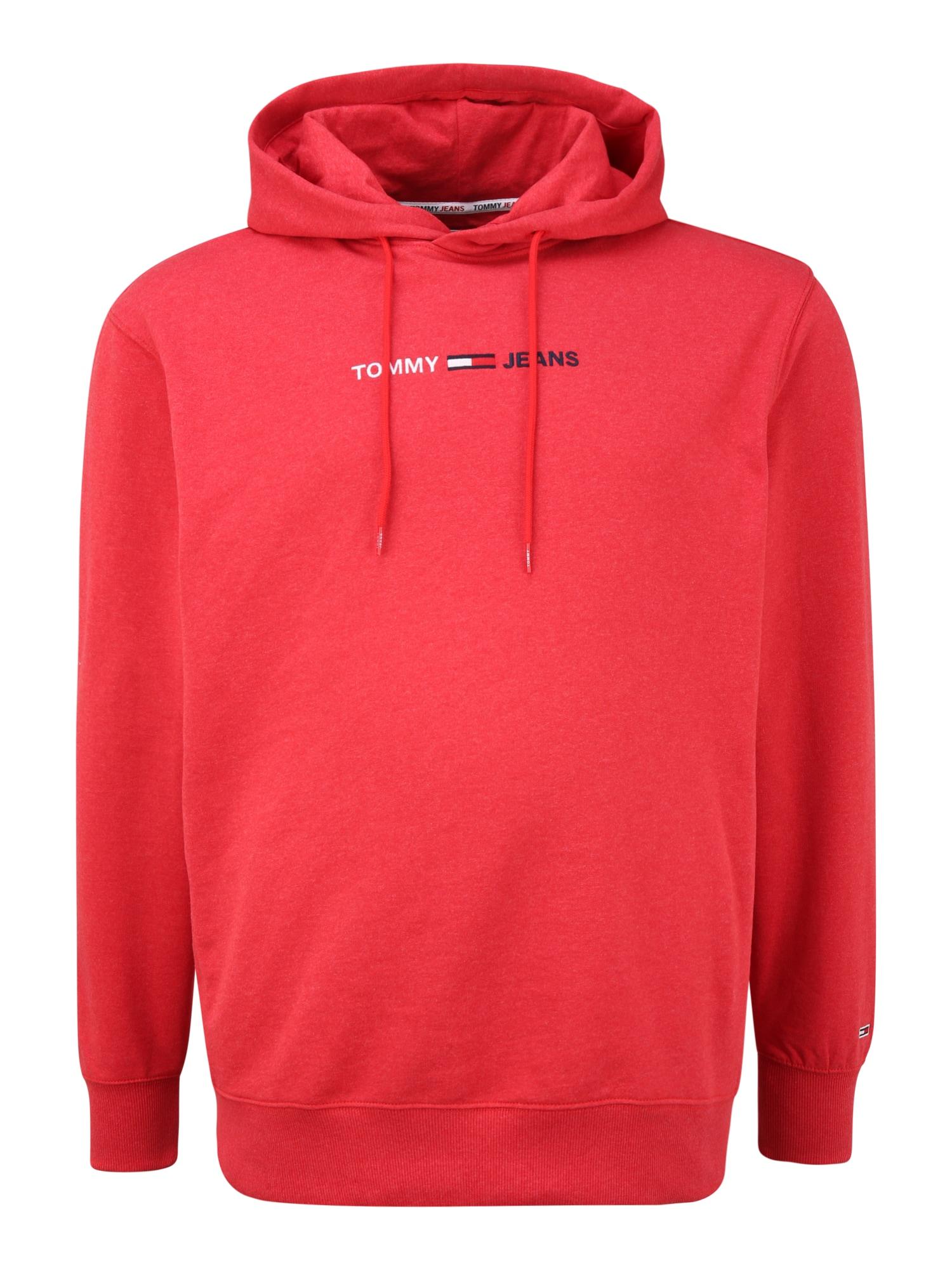 Tommy Jeans Plus Megztinis be užsegimo margai raudona / balta / tamsiai mėlyna