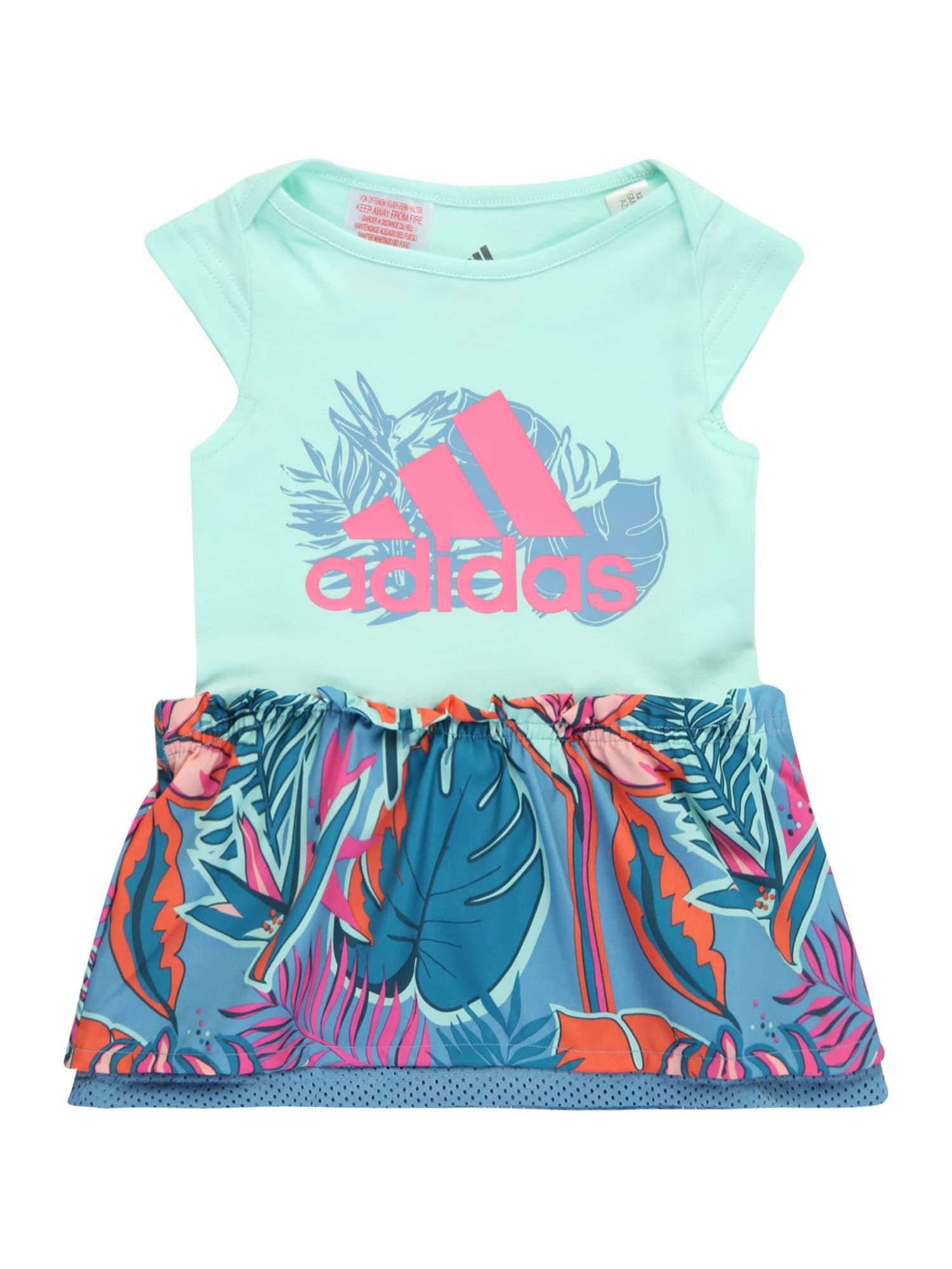 ADIDAS PERFORMANCE Sportinė suknelė turkio spalva / mėlyna dūmų spalva / rožinė / tamsiai oranžinė