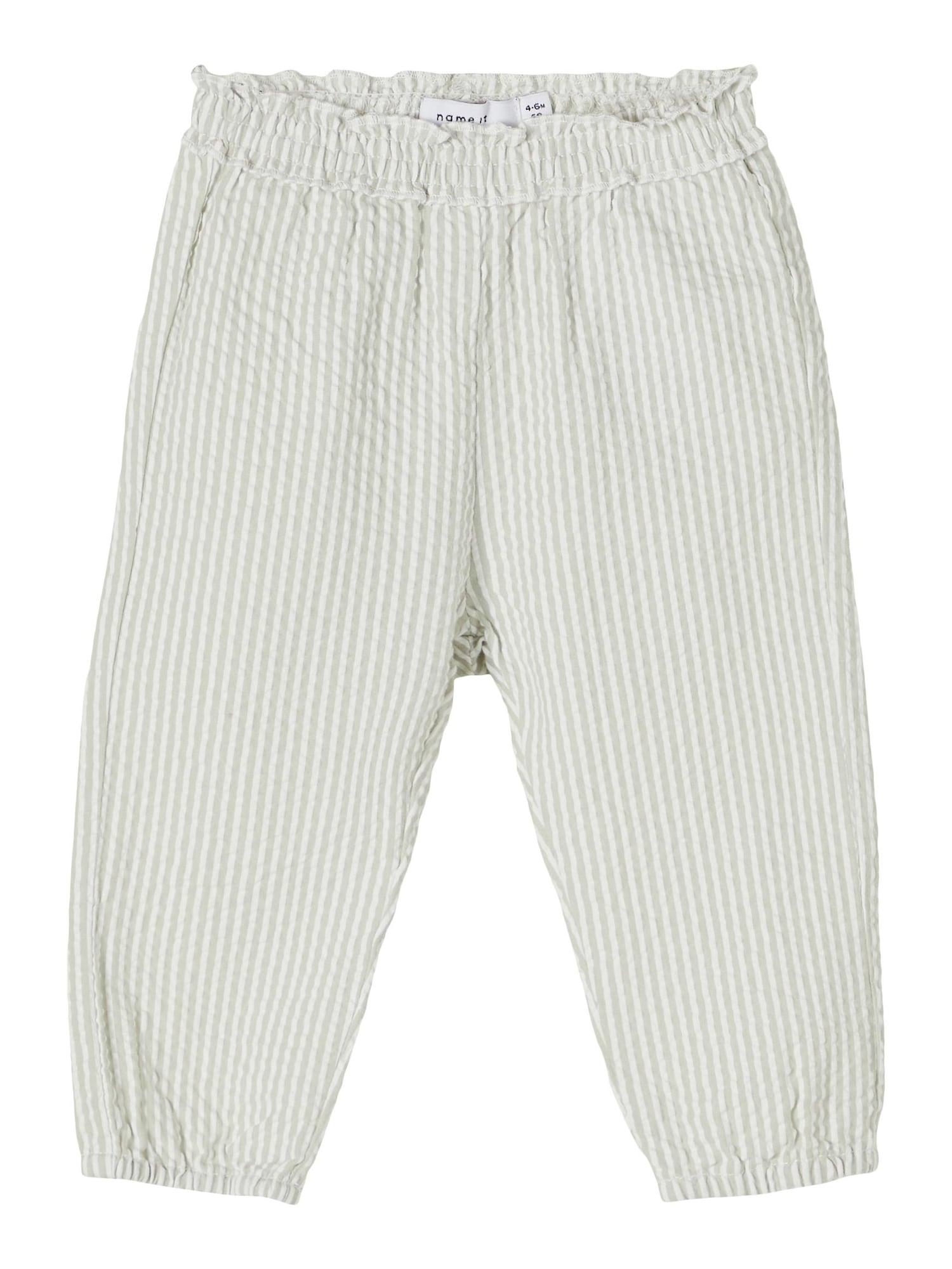 NAME IT Kelnės 'Filur' pastelinė žalia / balta