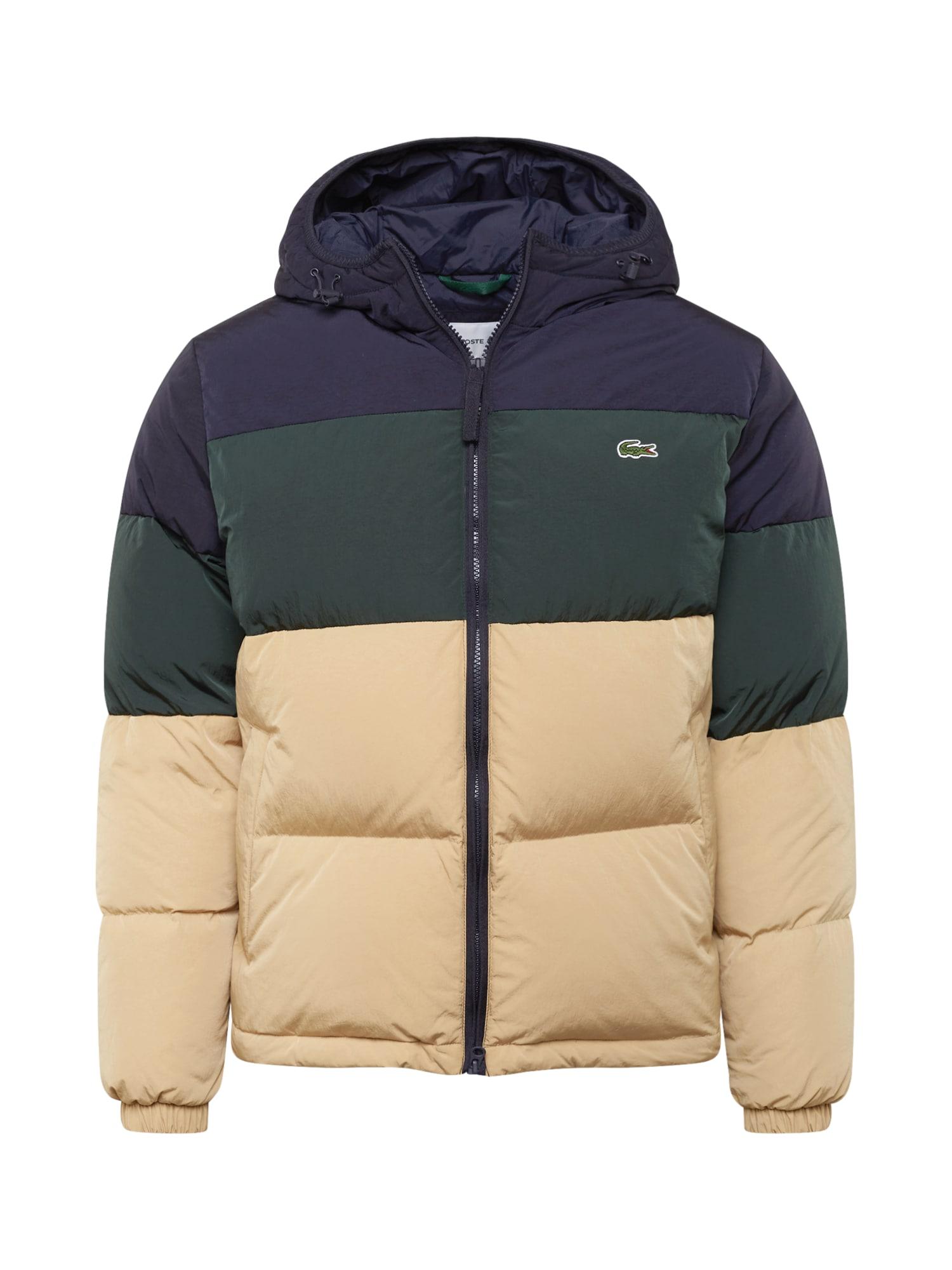 LACOSTE Zimní bunda  smaragdová / marine modrá / béžová