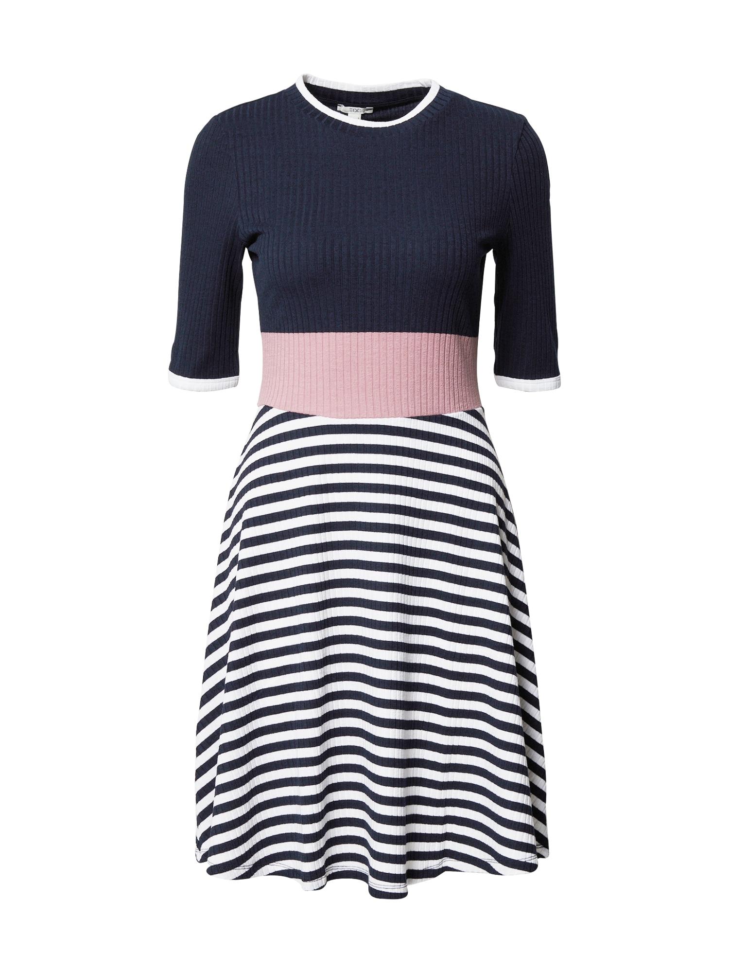 EDC BY ESPRIT Suknelė tamsiai mėlyna / rožinė / balta