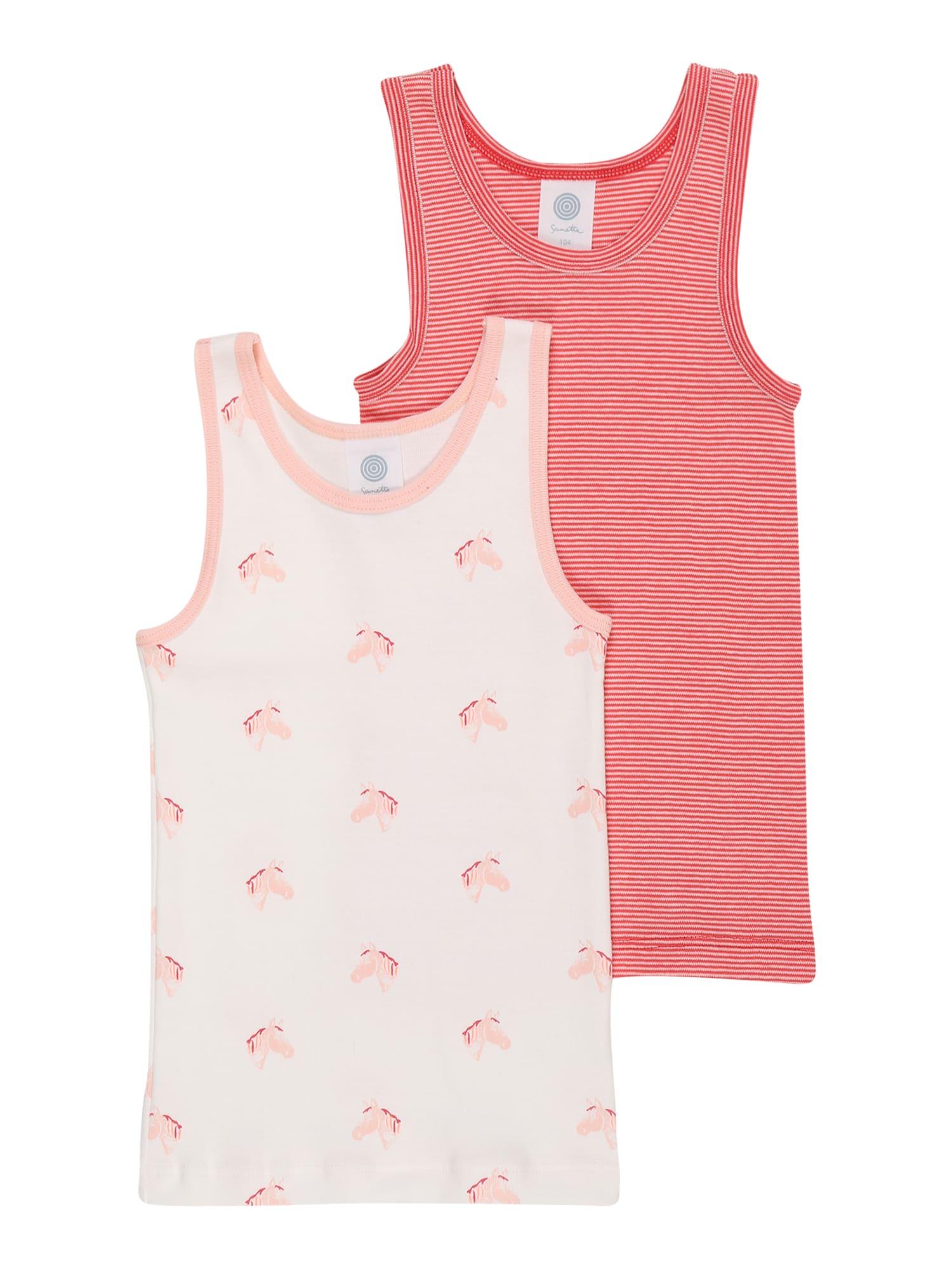 SANETTA Apatiniai marškinėliai raudona / persikų spalva / balta