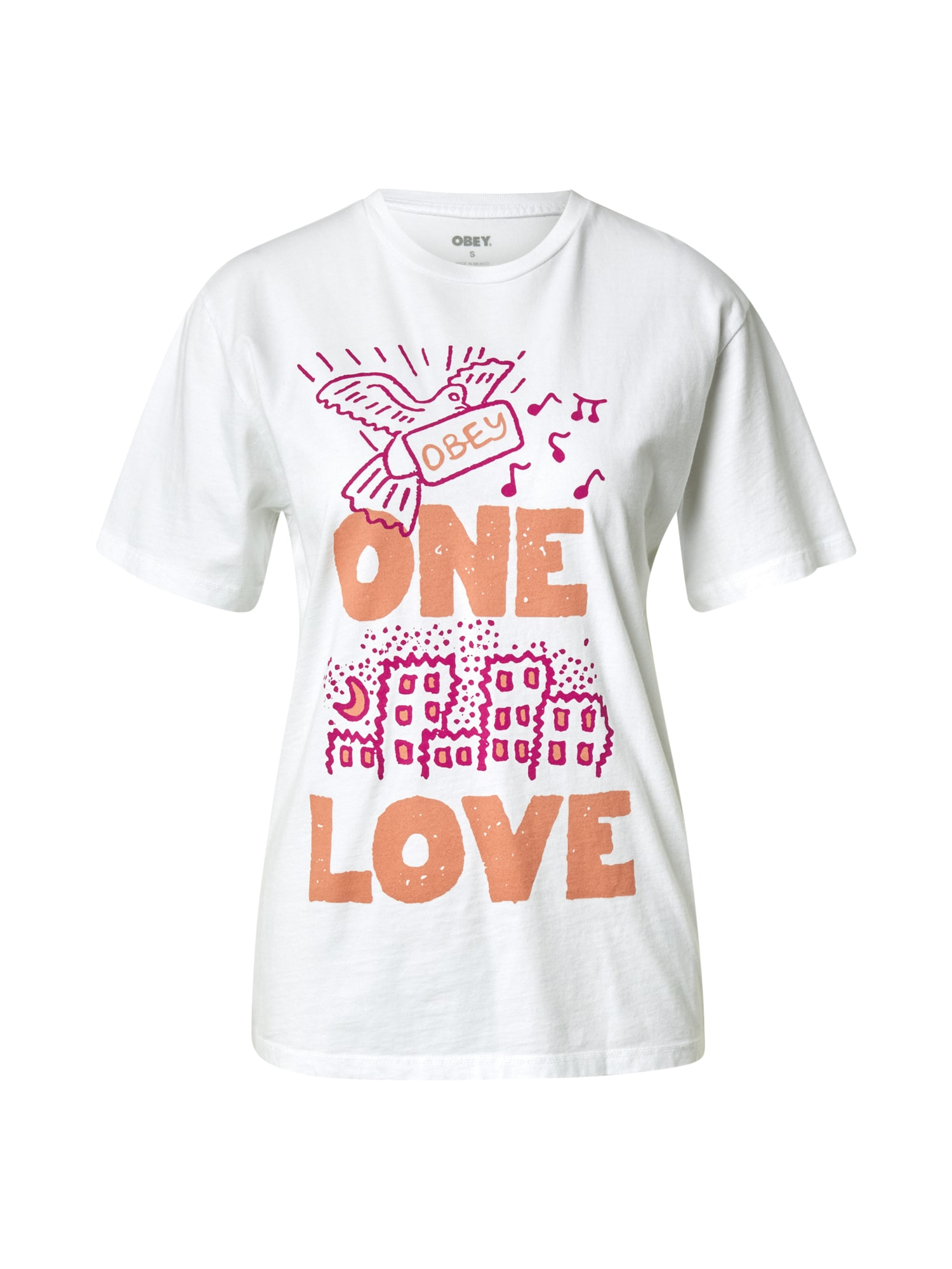 Obey Tričko 'CHOICE'  bílá / pink / oranžová
