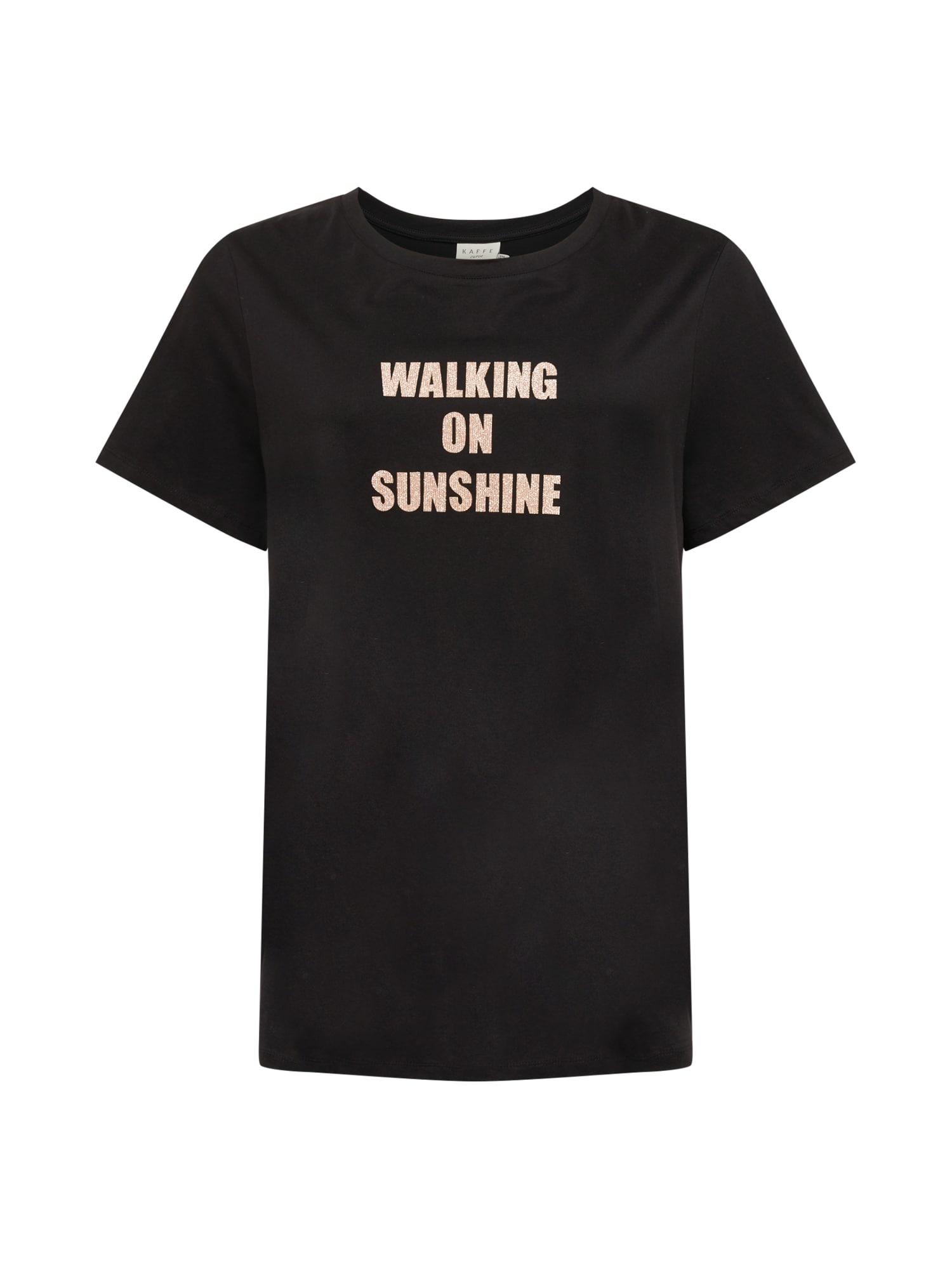 KAFFE CURVE Marškinėliai juoda / smėlio / sidabrinė