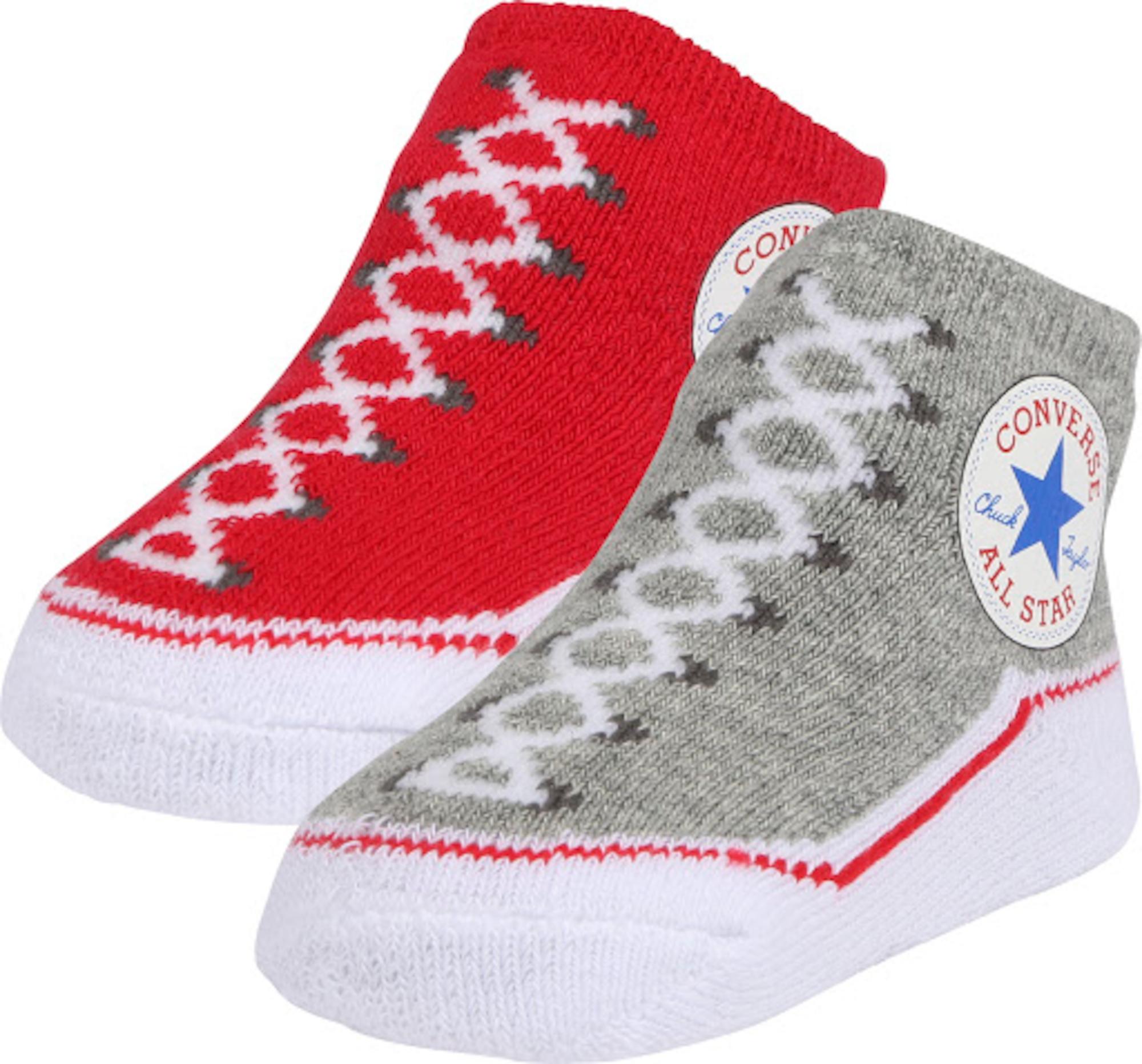 CONVERSE Kojinės 'Chuck Taylor' pilka / raudona / mišrios spalvos