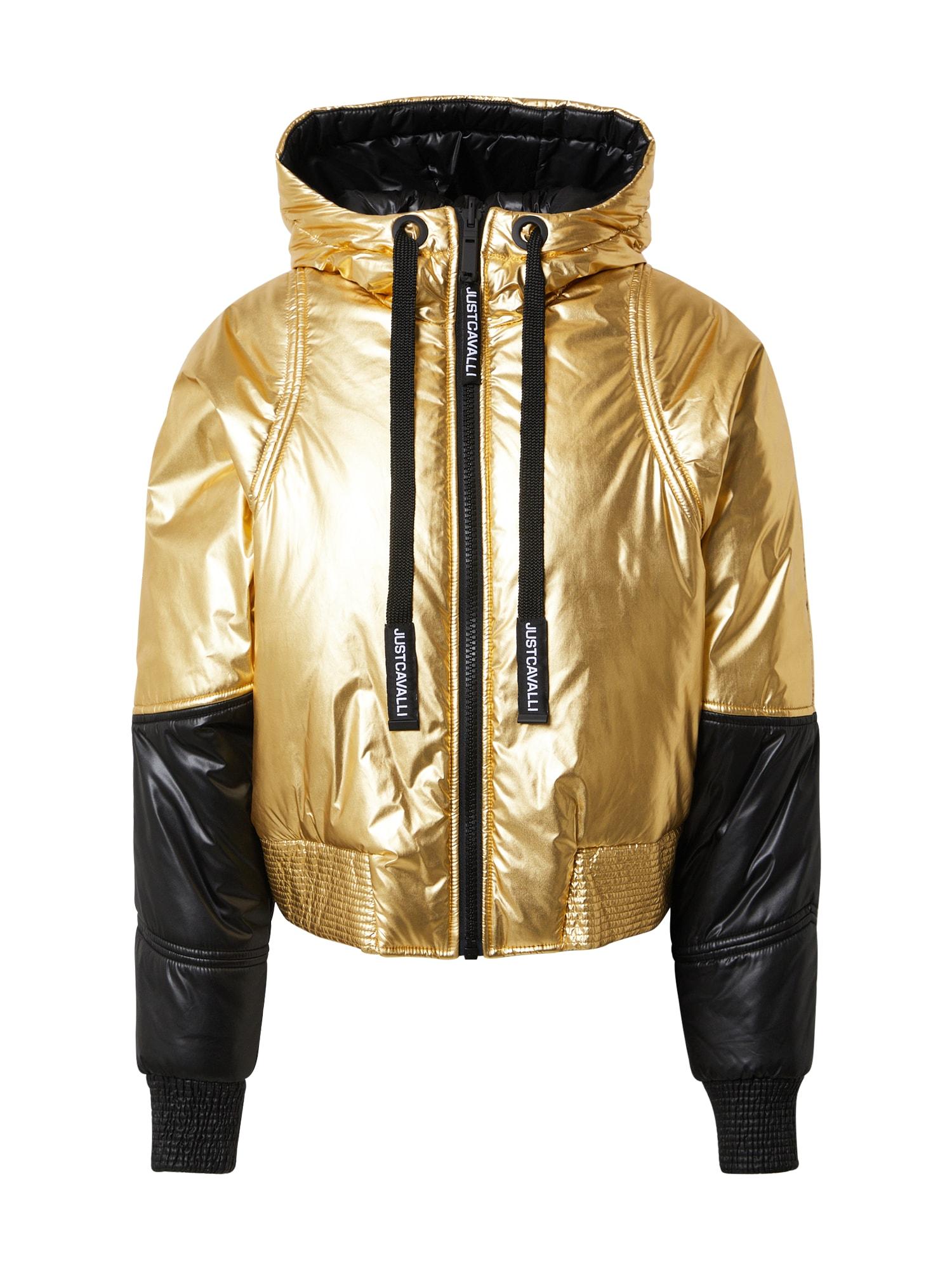 Just Cavalli Přechodná bunda  zlatá / černá