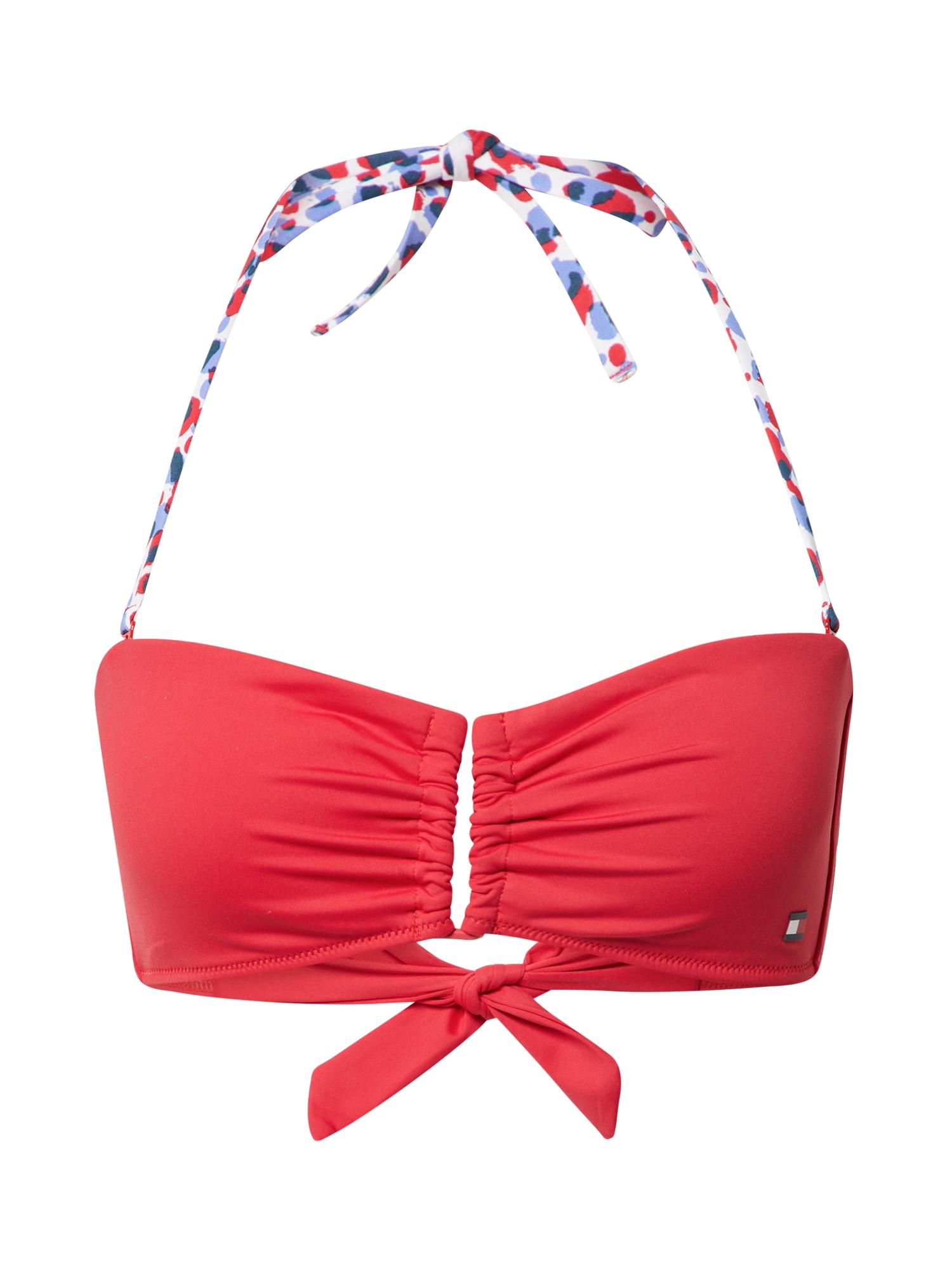 Tommy Hilfiger Underwear Bikinio viršutinė dalis spanguolių spalva / mėlyna dūmų spalva / balta / tamsiai mėlyna
