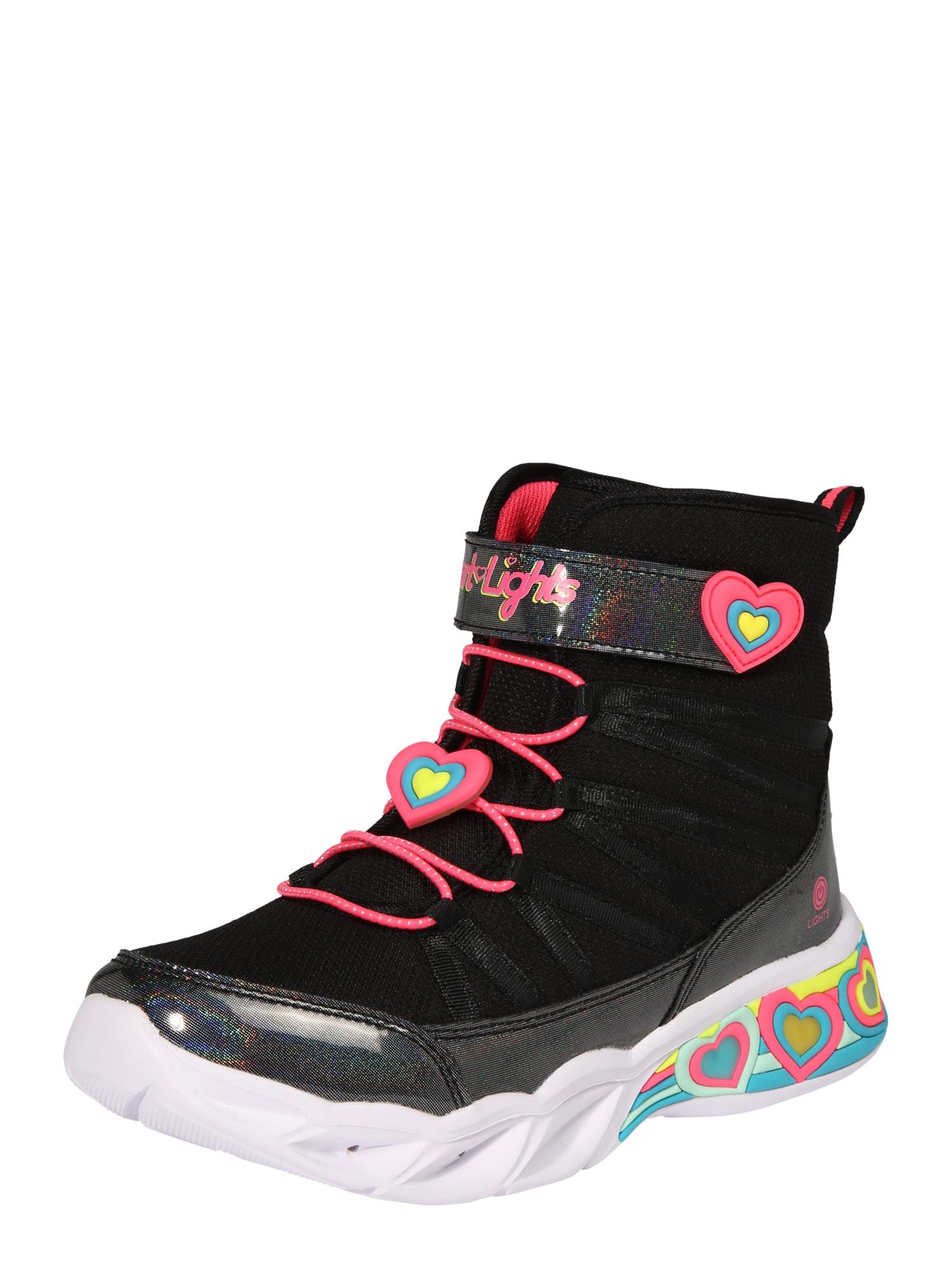 SKECHERS Auliniai batai su kulniuku 'SWEETHEART LIGHTS' juoda / rožinė / mėlyna / geltona