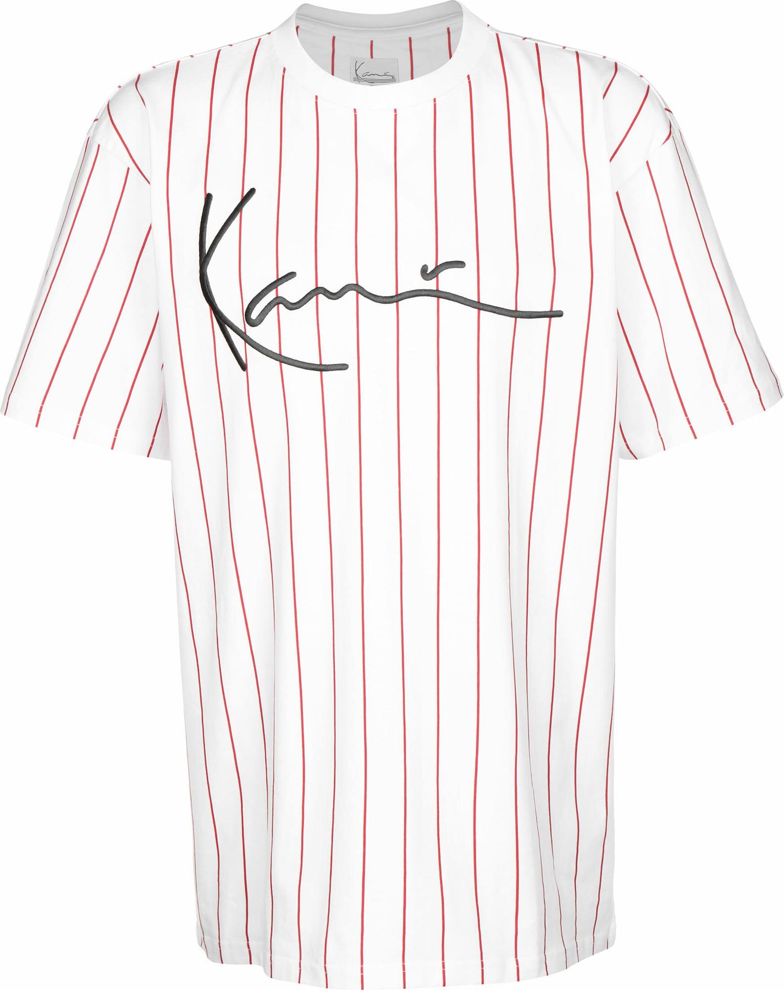 Karl Kani Marškinėliai 'Signature Pinstripe' balta / raudona