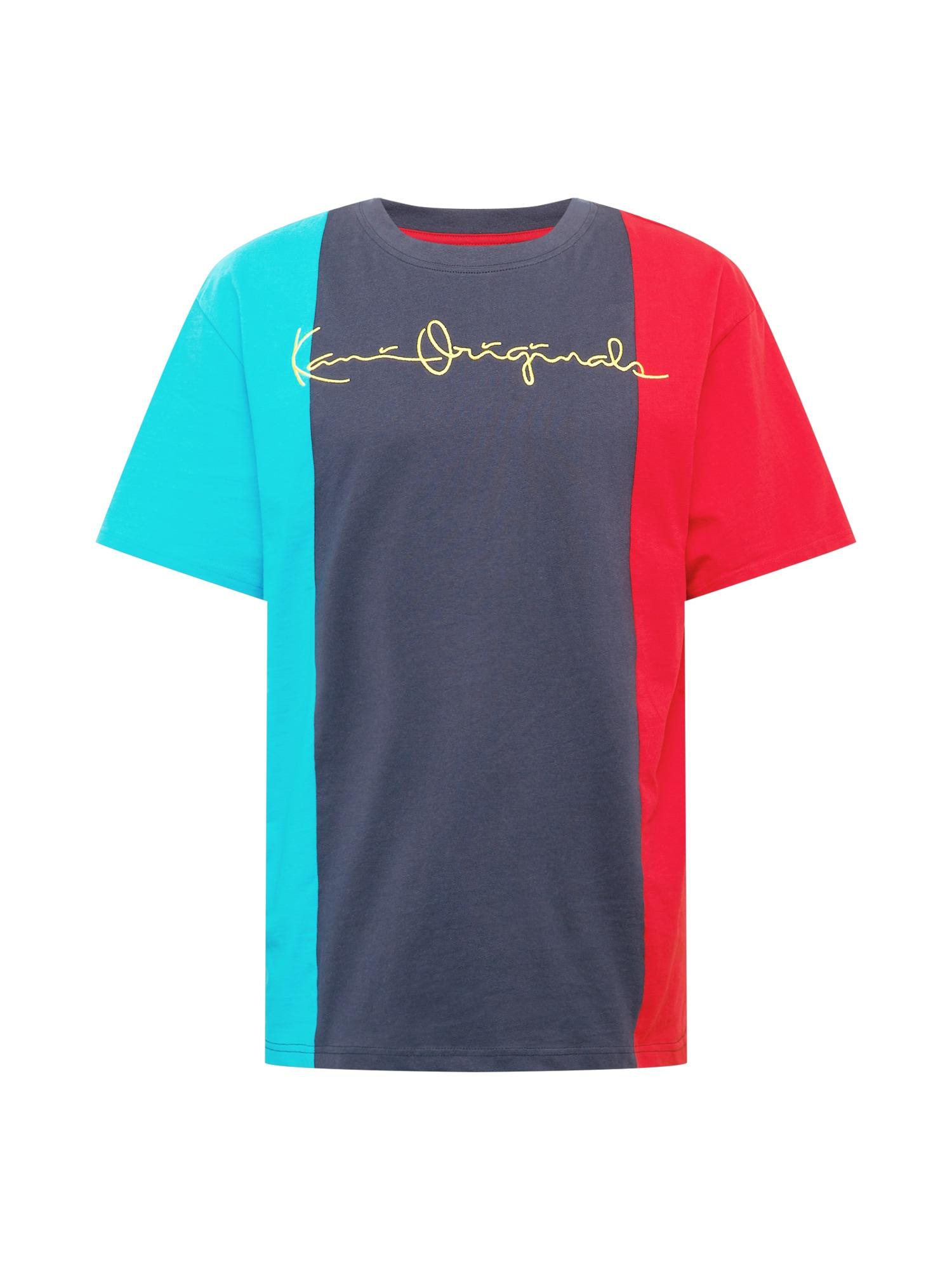 Karl Kani Marškinėliai tamsiai mėlyna / turkio spalva / raudona