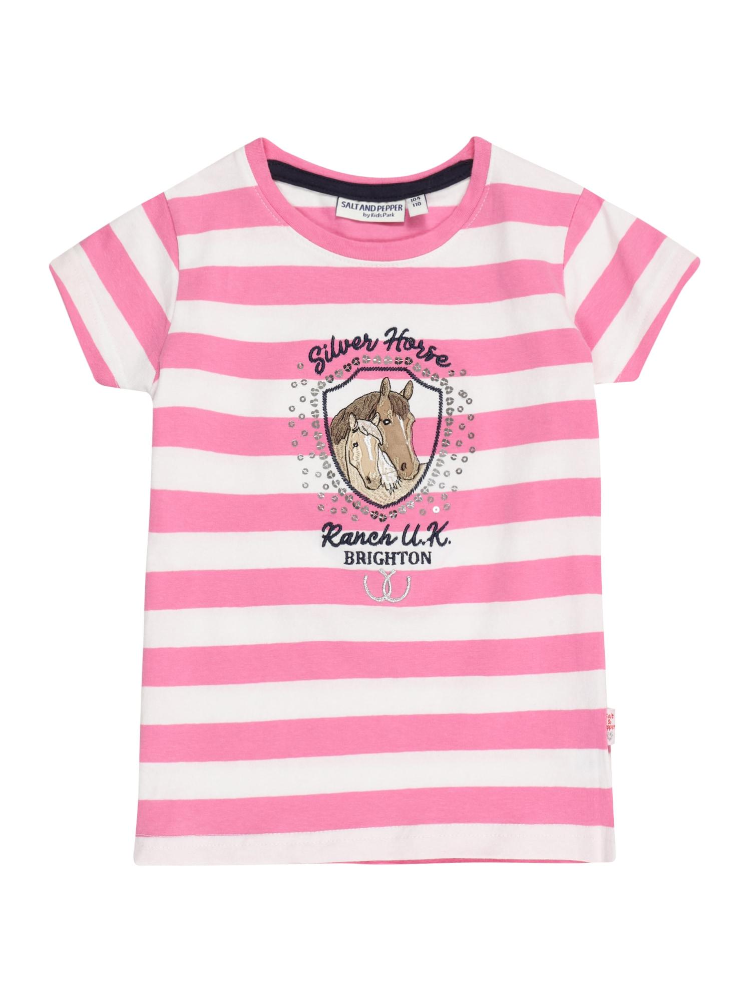 SALT AND PEPPER Marškinėliai balta / juoda / sidabrinė / tamsiai rožinė / šviesiai ruda