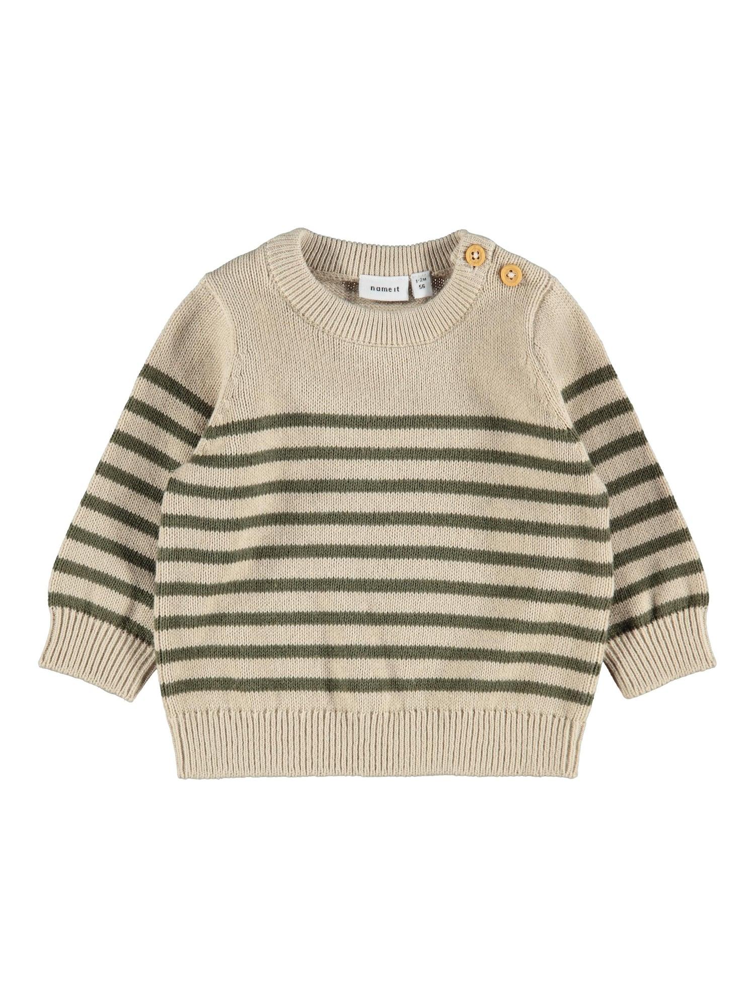 NAME IT Megztinis 'Deslon' kūno spalva / rusvai žalia
