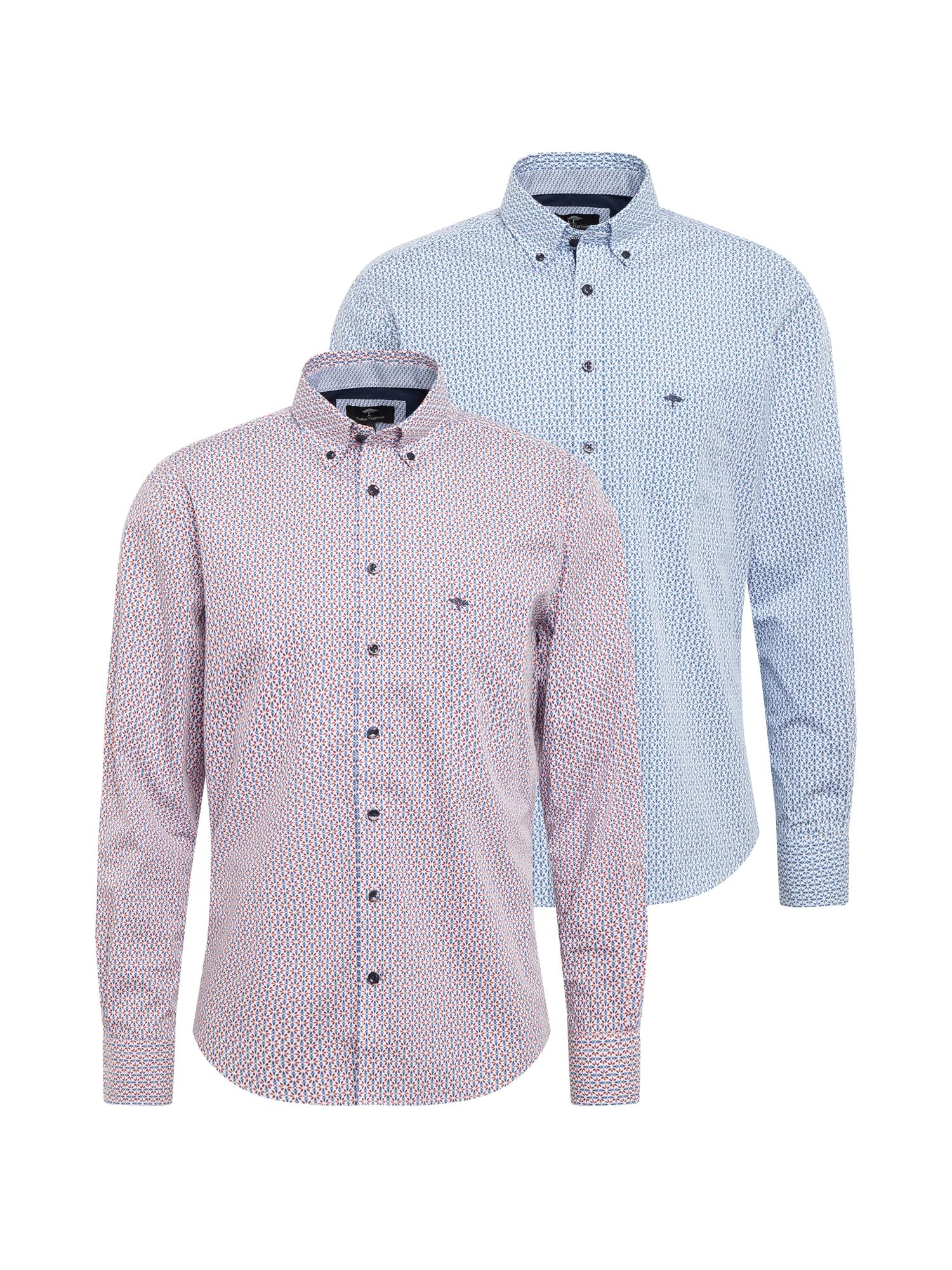 FYNCH-HATTON Marškiniai šviesiai mėlyna / balta / tamsiai raudona