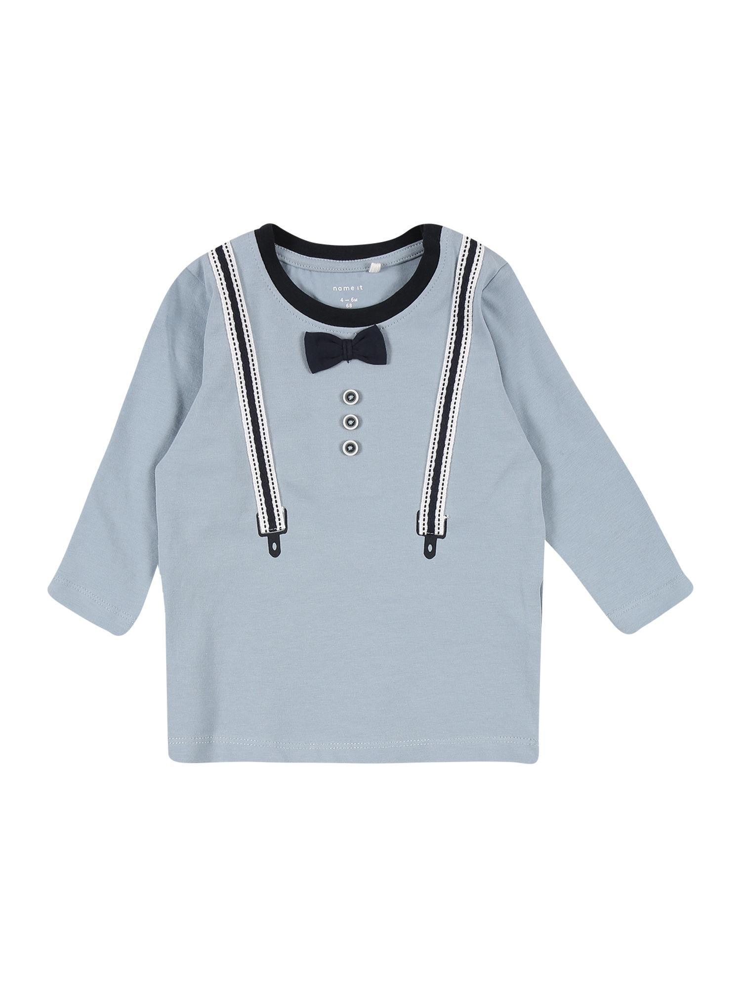 NAME IT Marškinėliai dangaus žydra / tamsiai mėlyna / balta