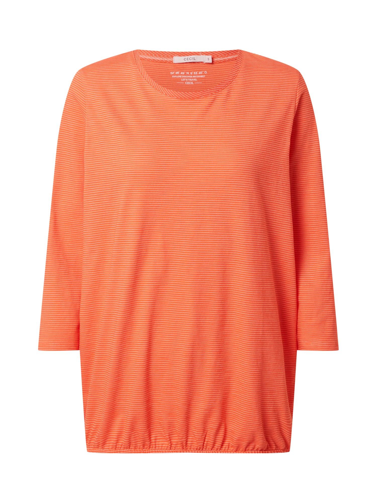 CECIL Marškinėliai tamsiai oranžinė / balta