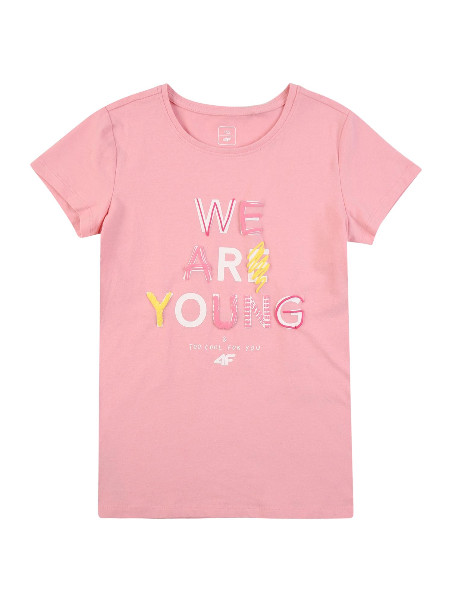 4F Sportiniai marškinėliai ryškiai rožinė spalva / geltona / balta / spanguolių spalva