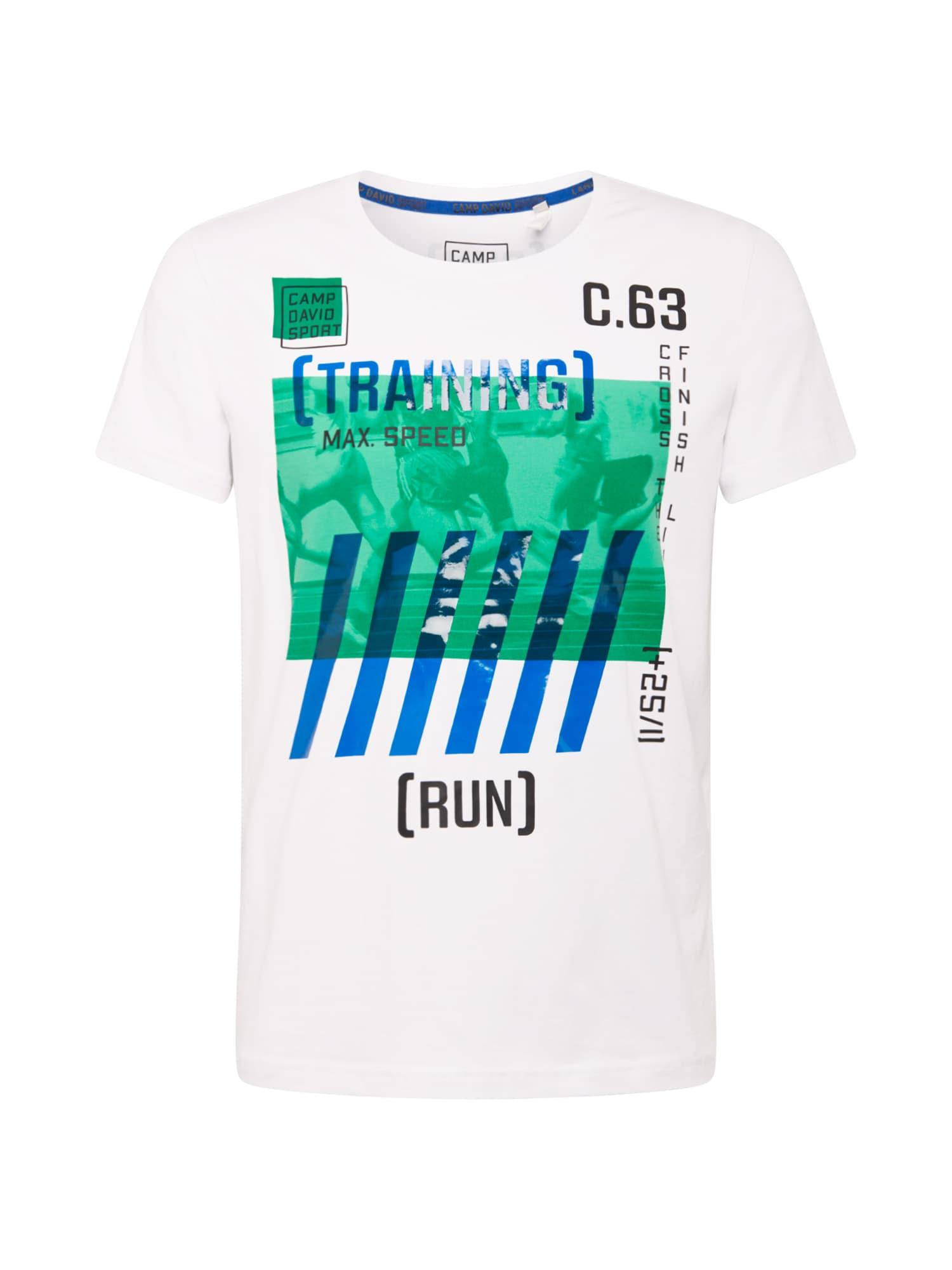 """CAMP DAVID Marškinėliai balta / šviesiai žalia / sodri mėlyna (""""karališka"""") / juoda / tamsiai mėlyna jūros spalva"""