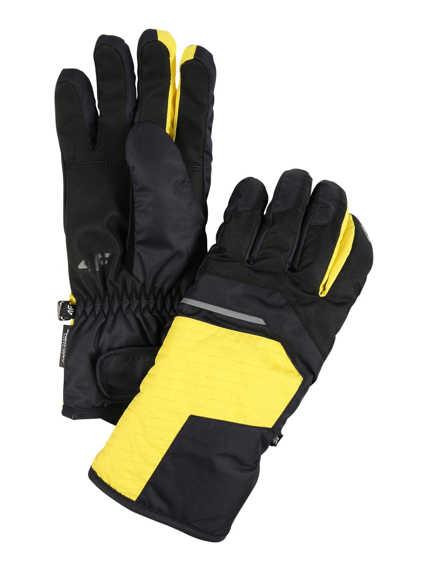 4F Sportinės pirštinės antracito / geltona