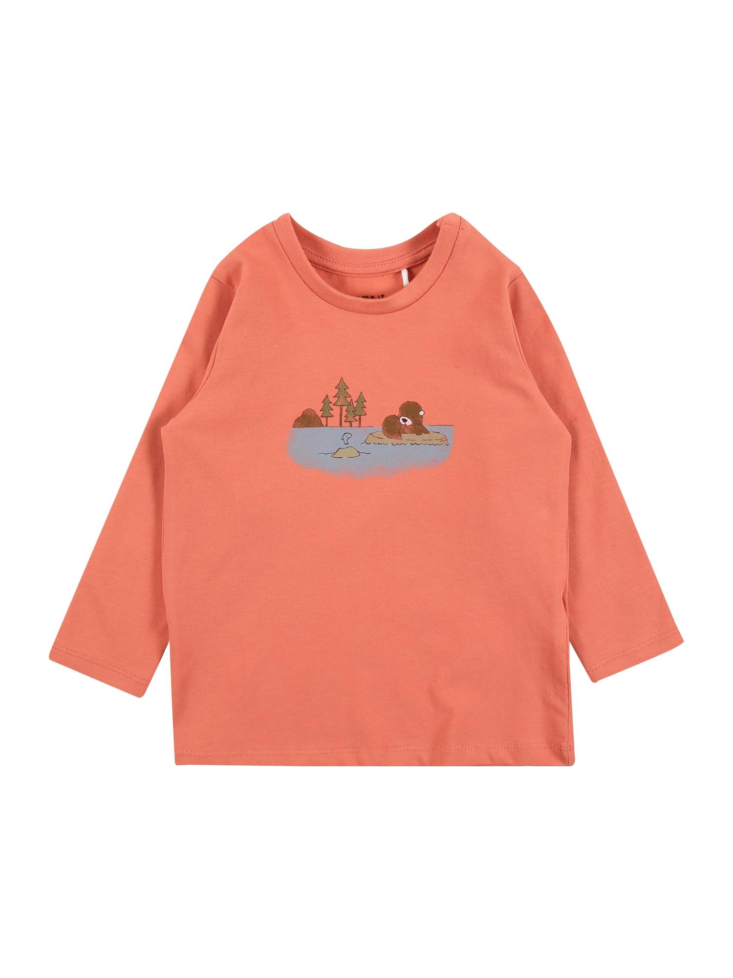 NAME IT Marškinėliai 'BOFIR' koralų splava / mėlyna dūmų spalva / žalia / ruda / rusvai pilka