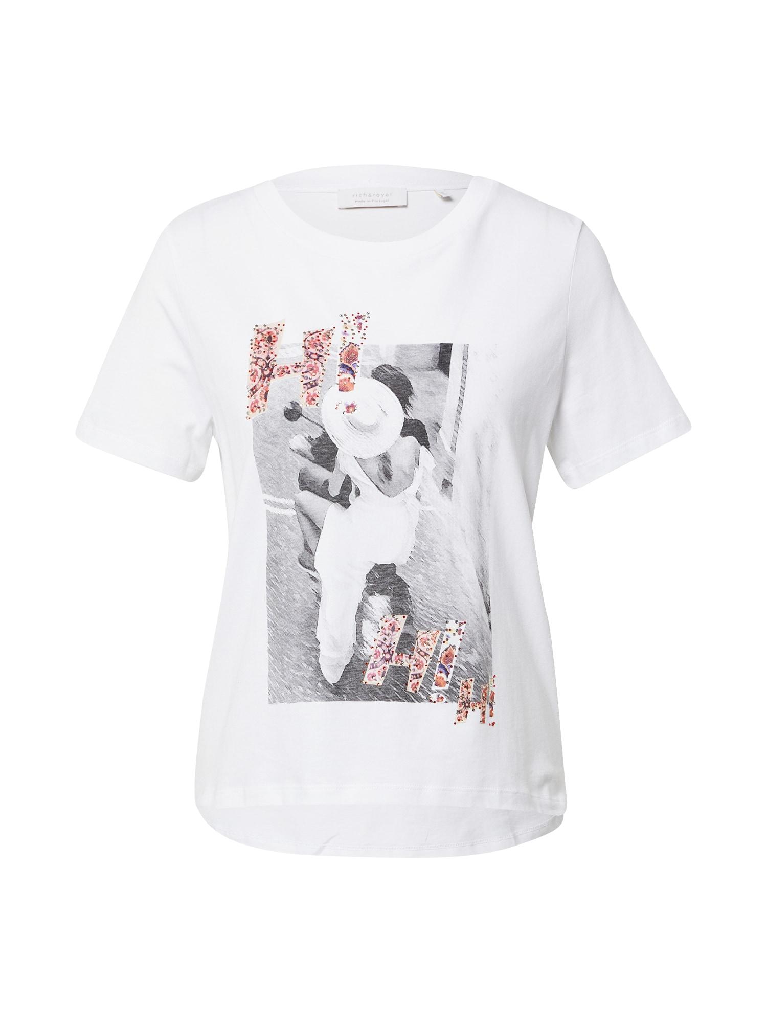 Rich & Royal Marškinėliai balta / pilka / rožinė