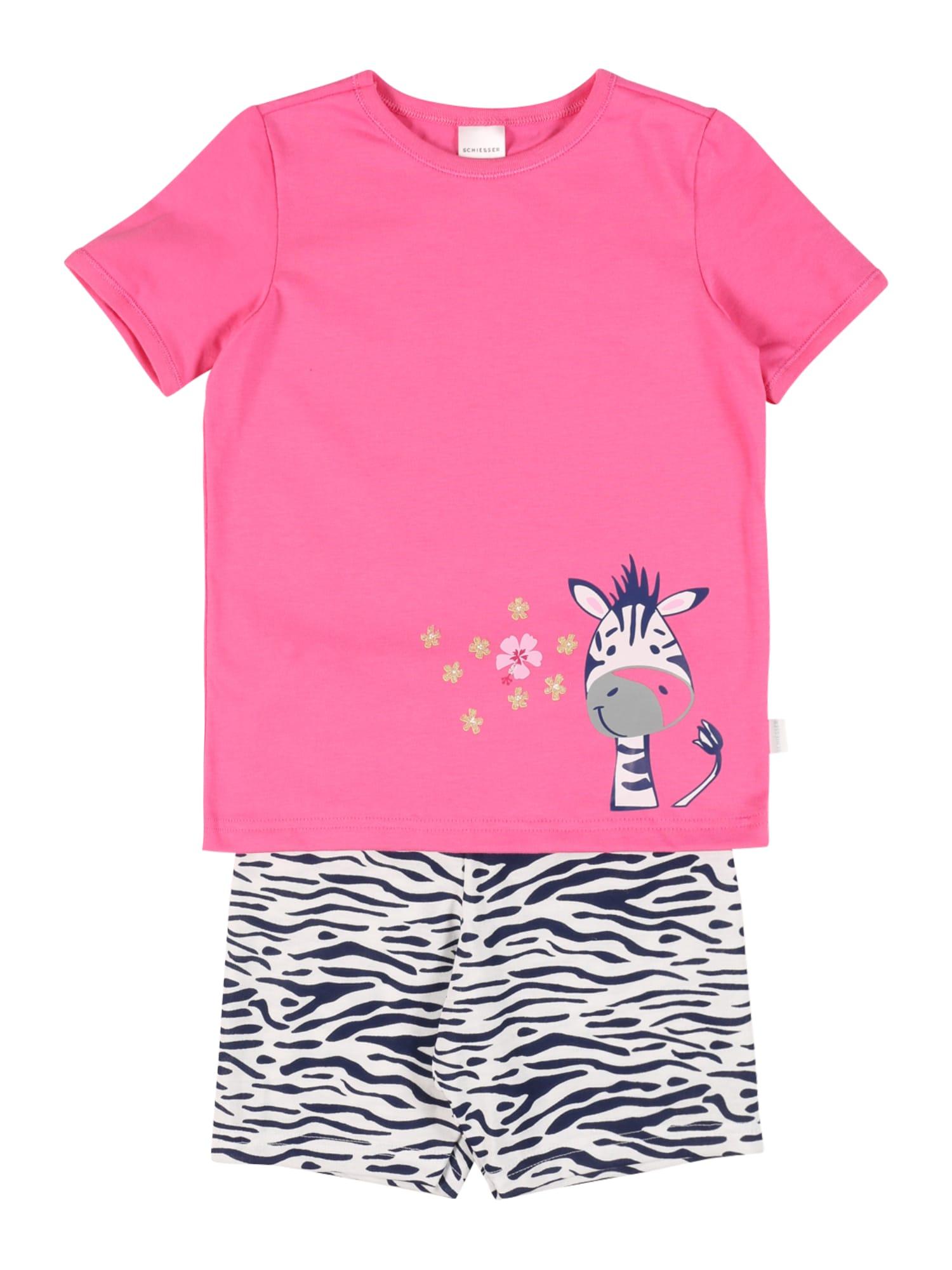 SCHIESSER Miego kostiumas rožinė / balta / tamsiai mėlyna / pilka