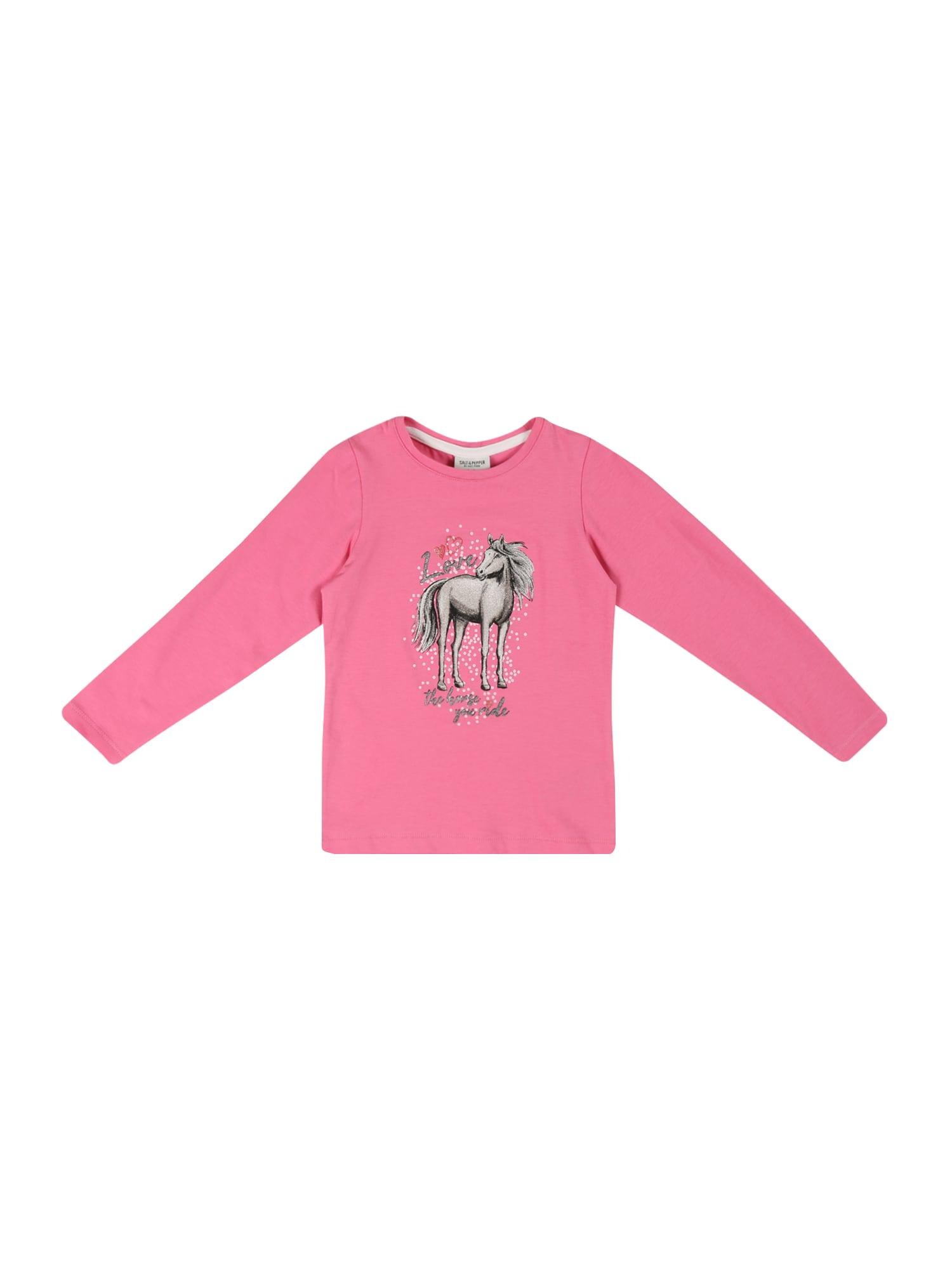 SALT AND PEPPER Tričko  pink / černá / stříbrná / světle šedá