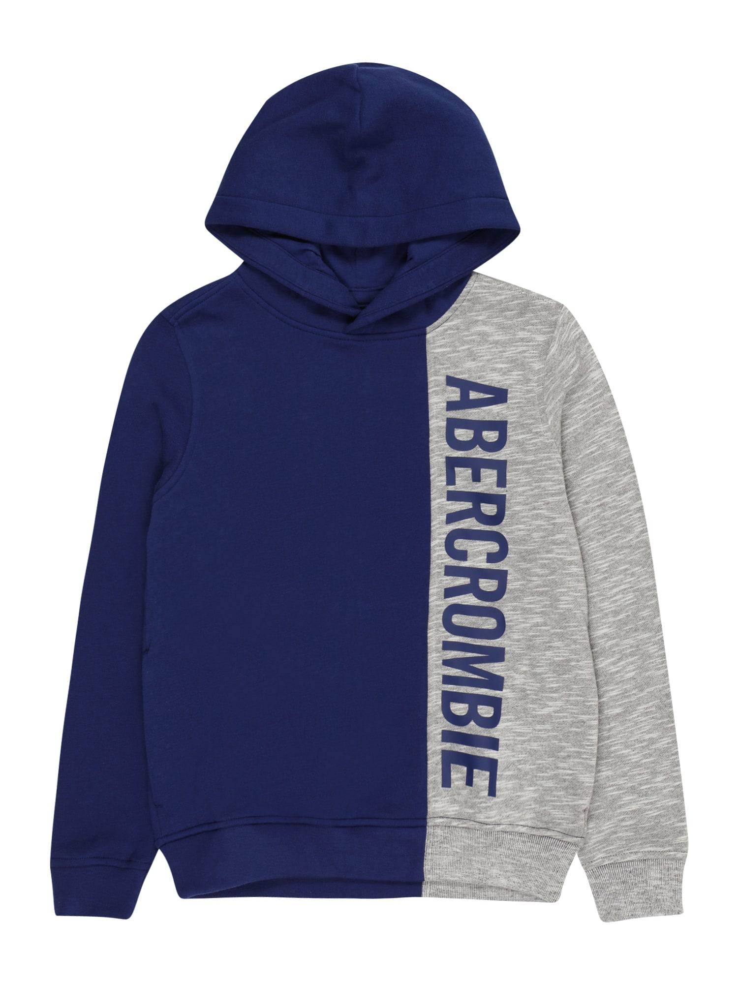 Abercrombie & Fitch Megztinis be užsegimo tamsiai mėlyna jūros spalva / pilka