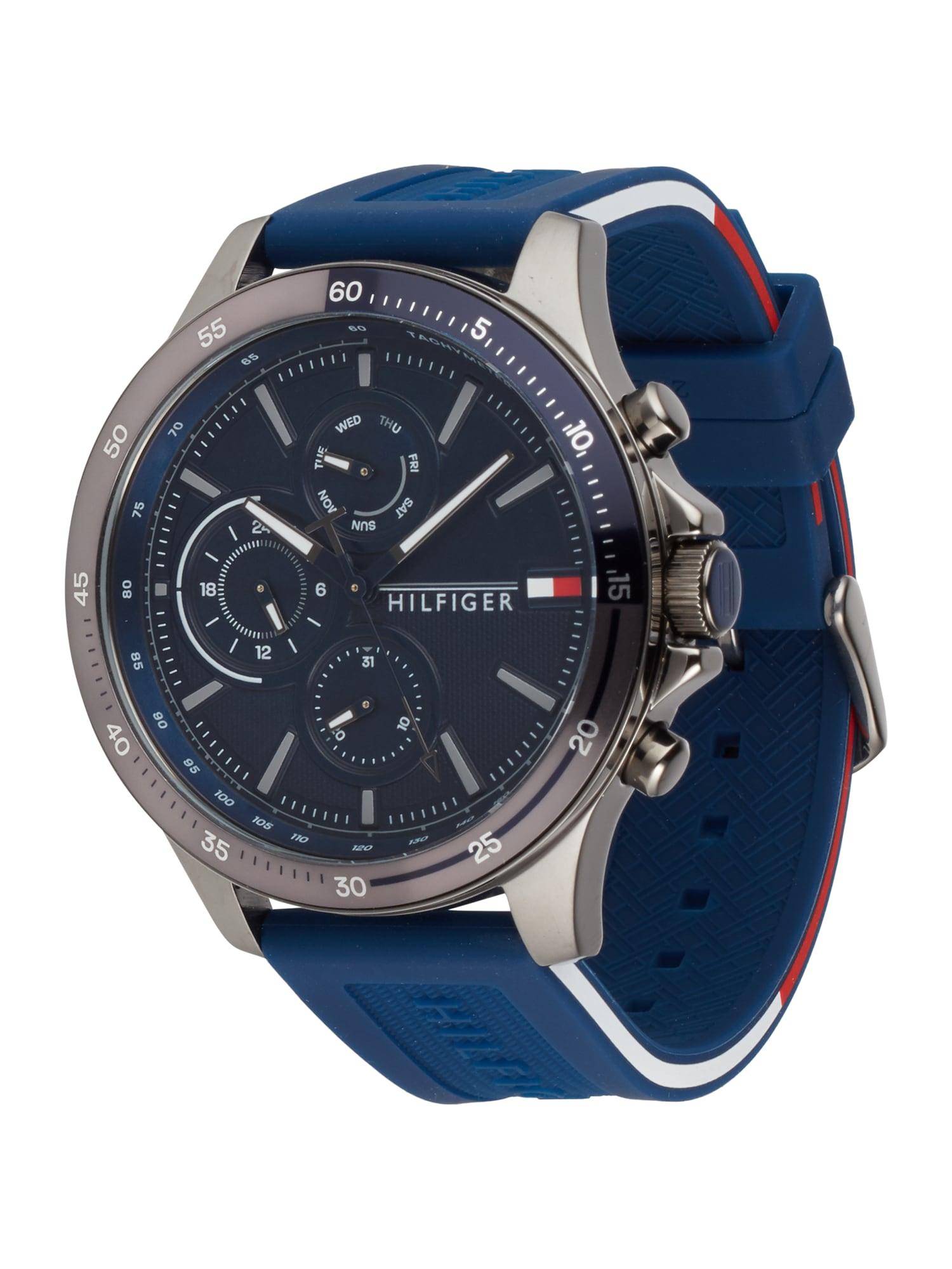 TOMMY HILFIGER Analoginis (įprasto dizaino) laikrodis sidabrinė / tamsiai mėlyna jūros spalva