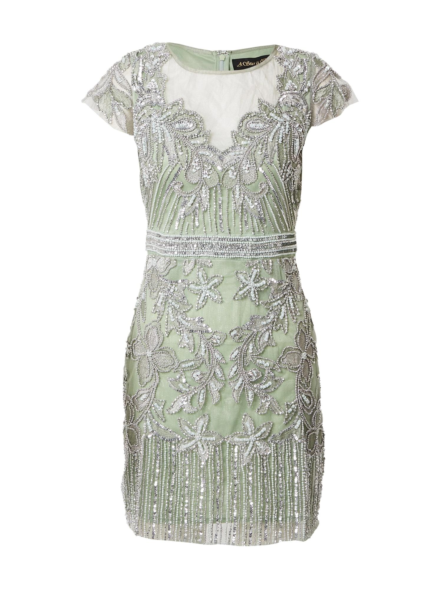 A STAR IS BORN Kokteilinė suknelė sidabrinė / žalia
