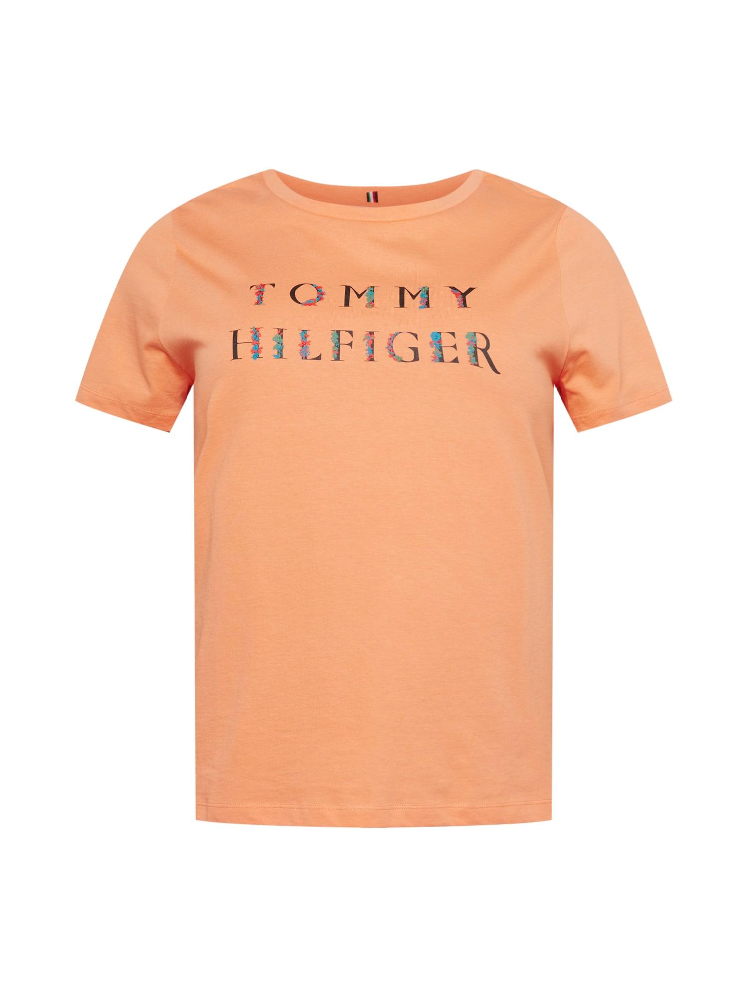 Tommy Hilfiger Curve Marškinėliai šviesiai oranžinė / mėlyna / juoda / tamsiai oranžinė