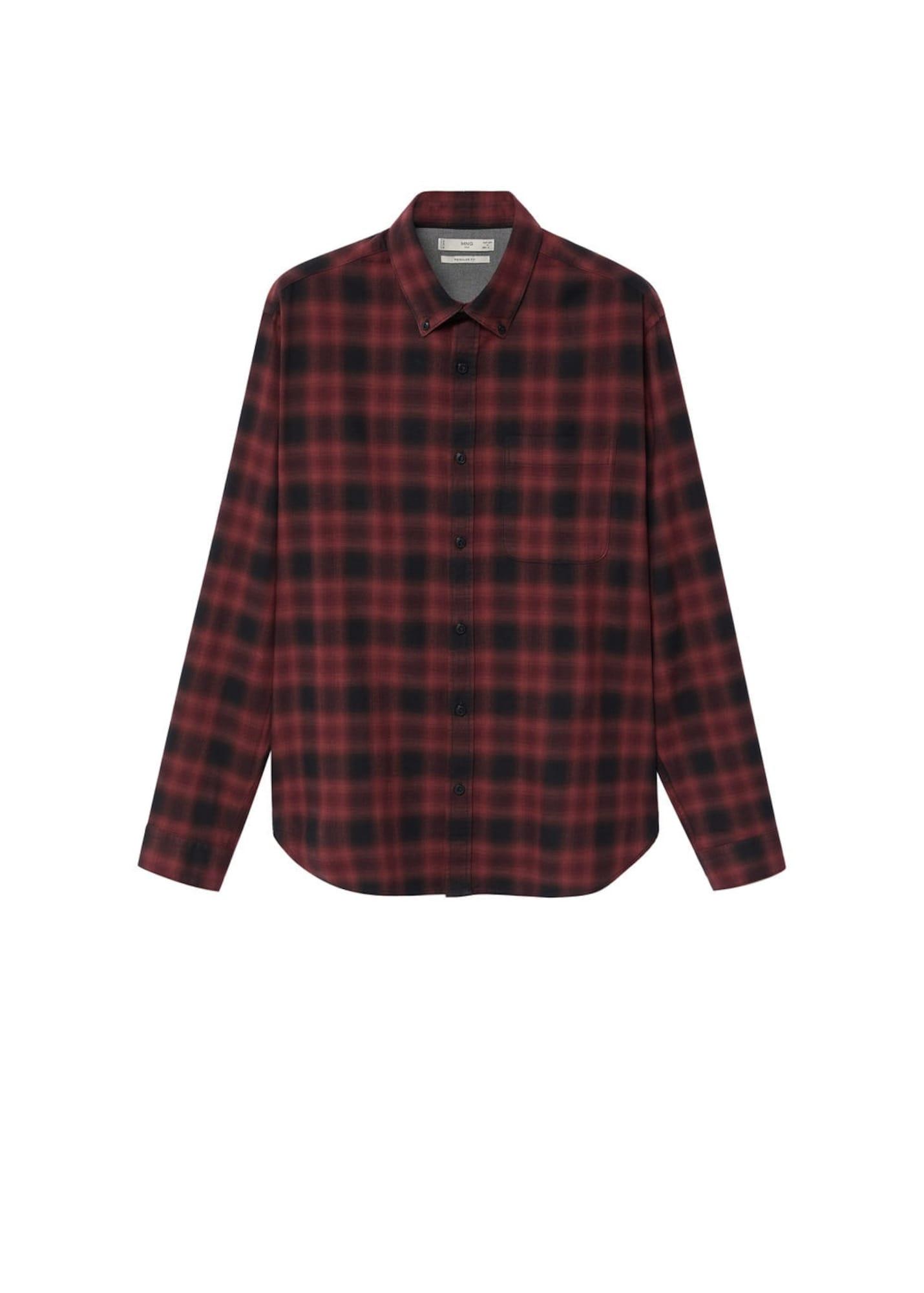 MANGO MAN Košile  rubínově červená / černá