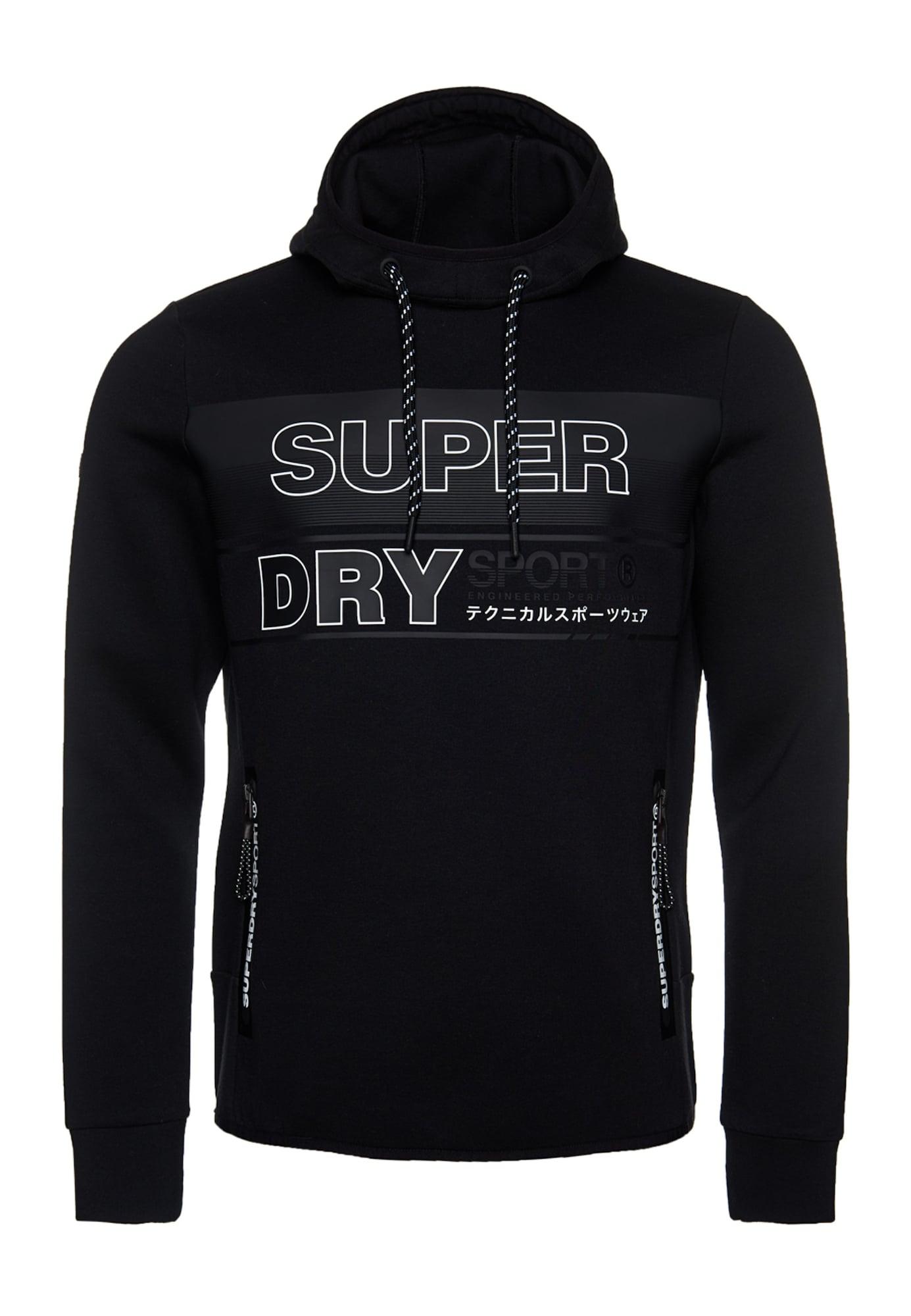 Superdry Sportinio tipo megztinis juoda / šviesiai pilka / balta