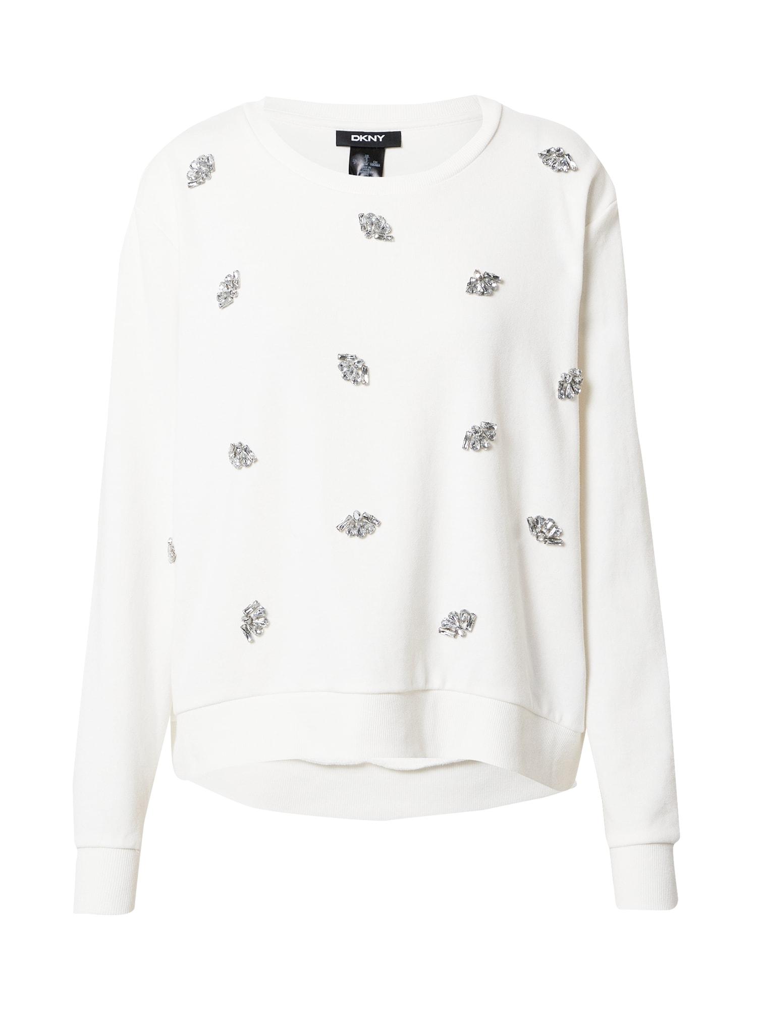 DKNY Megztinis be užsegimo kremo / sidabrinė
