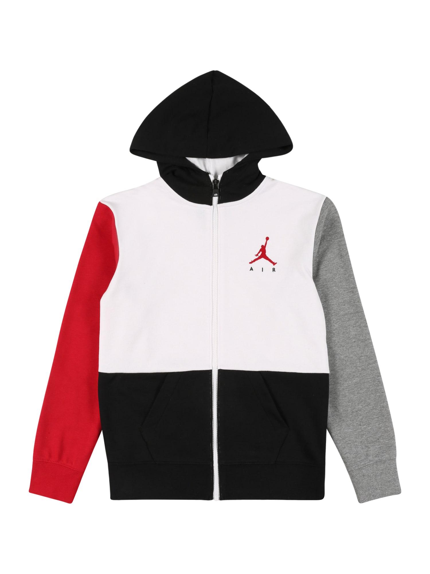 Jordan Džemperis balta / juoda / raudona / margai pilka