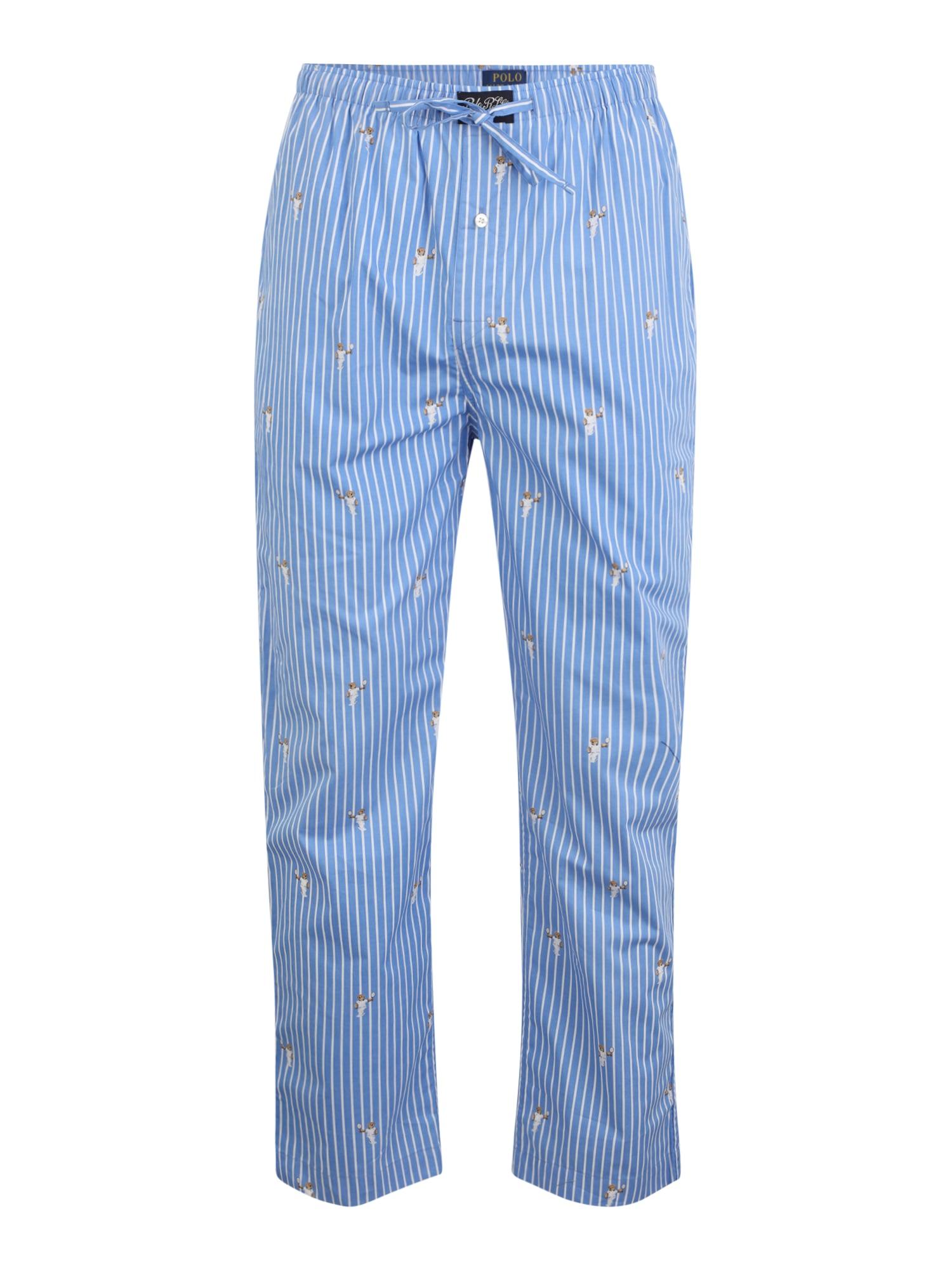 POLO RALPH LAUREN Pižaminės kelnės mėlyna dūmų spalva / balta / šviesiai ruda
