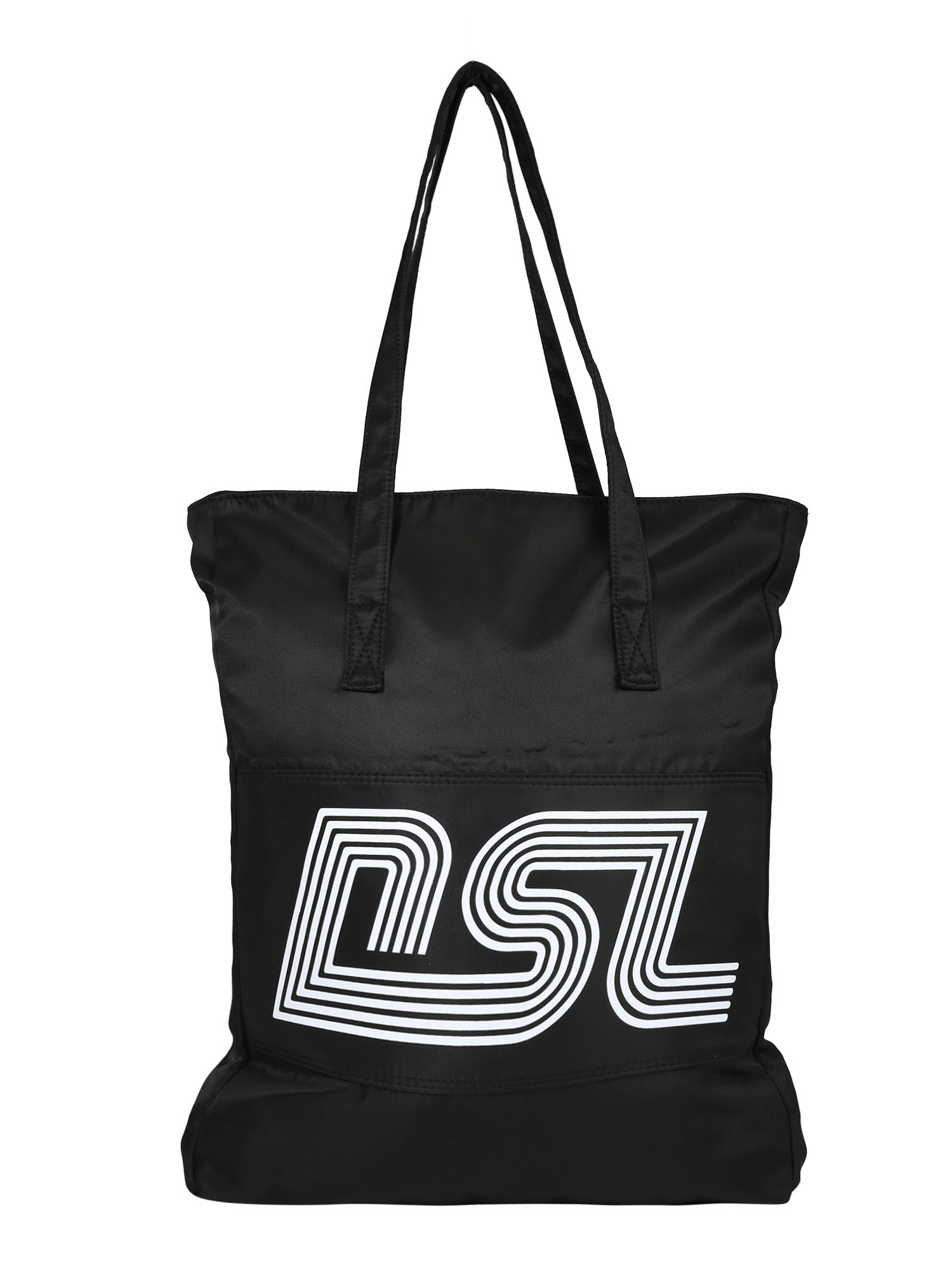 DIESEL Pirkinių krepšys juoda / balta
